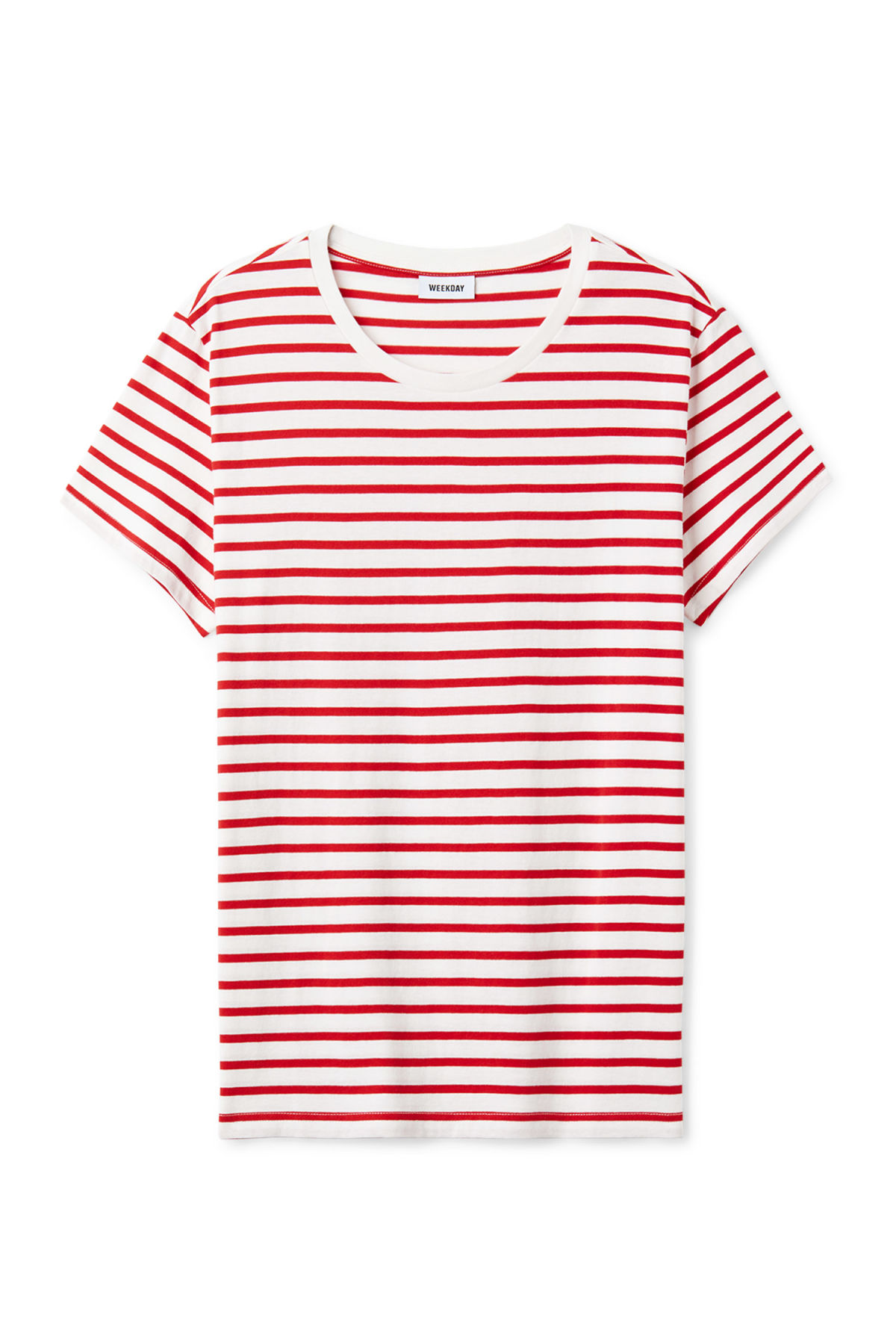 Front image of Weekday alex stripe t-shirt in red