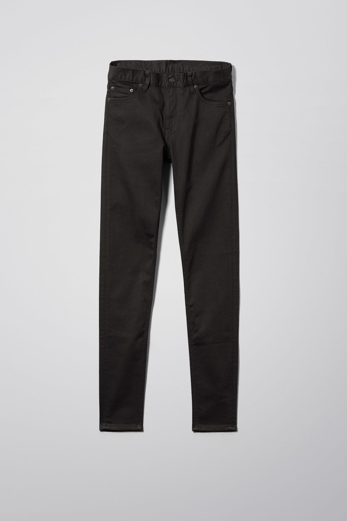 Front image of Weekday form stay black jeans in black