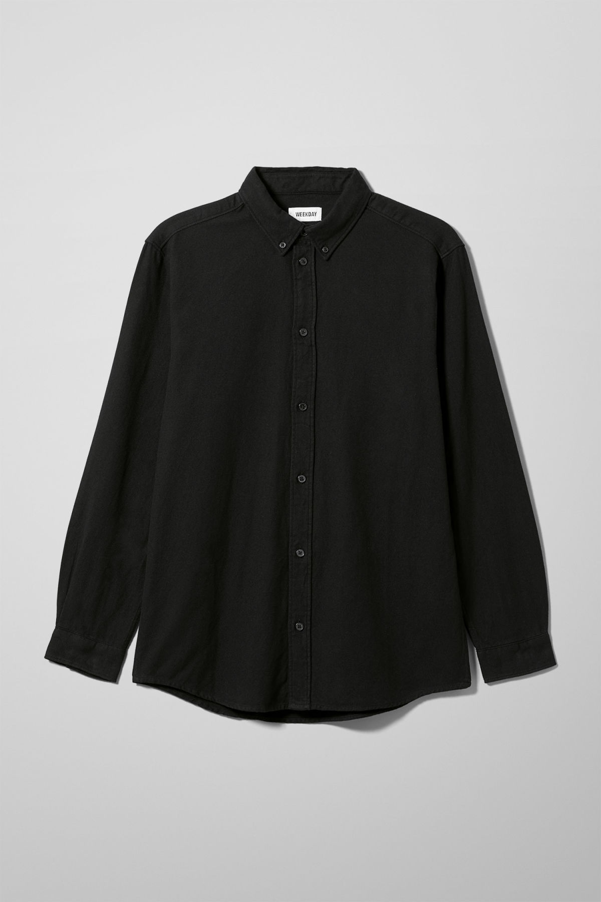Front image of Weekday seattle flanell shirt in black