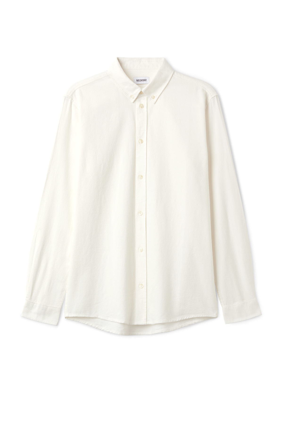 Front image of Weekday seattle flanell shirt in white