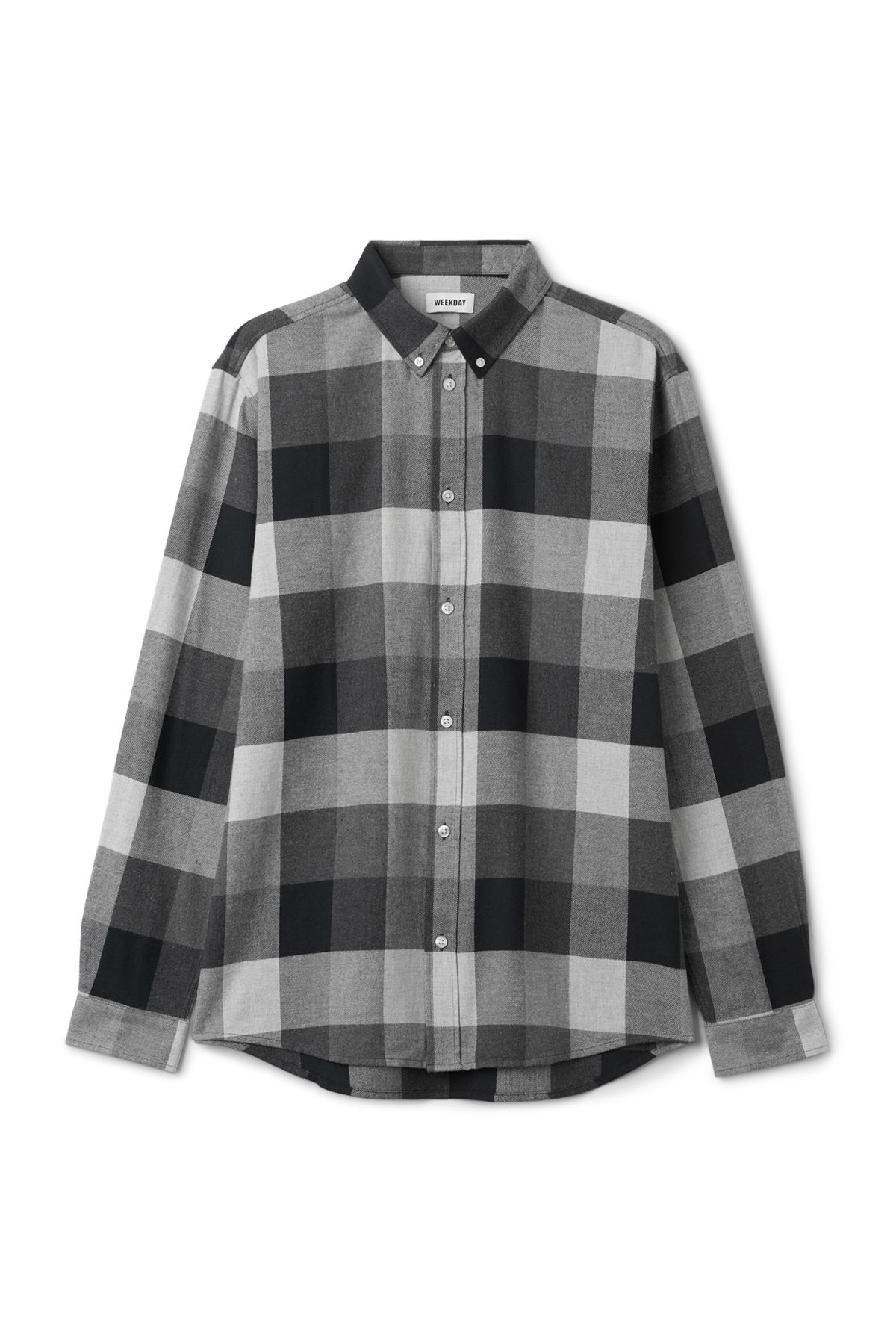 Front image of Weekday seattle check shirt in grey
