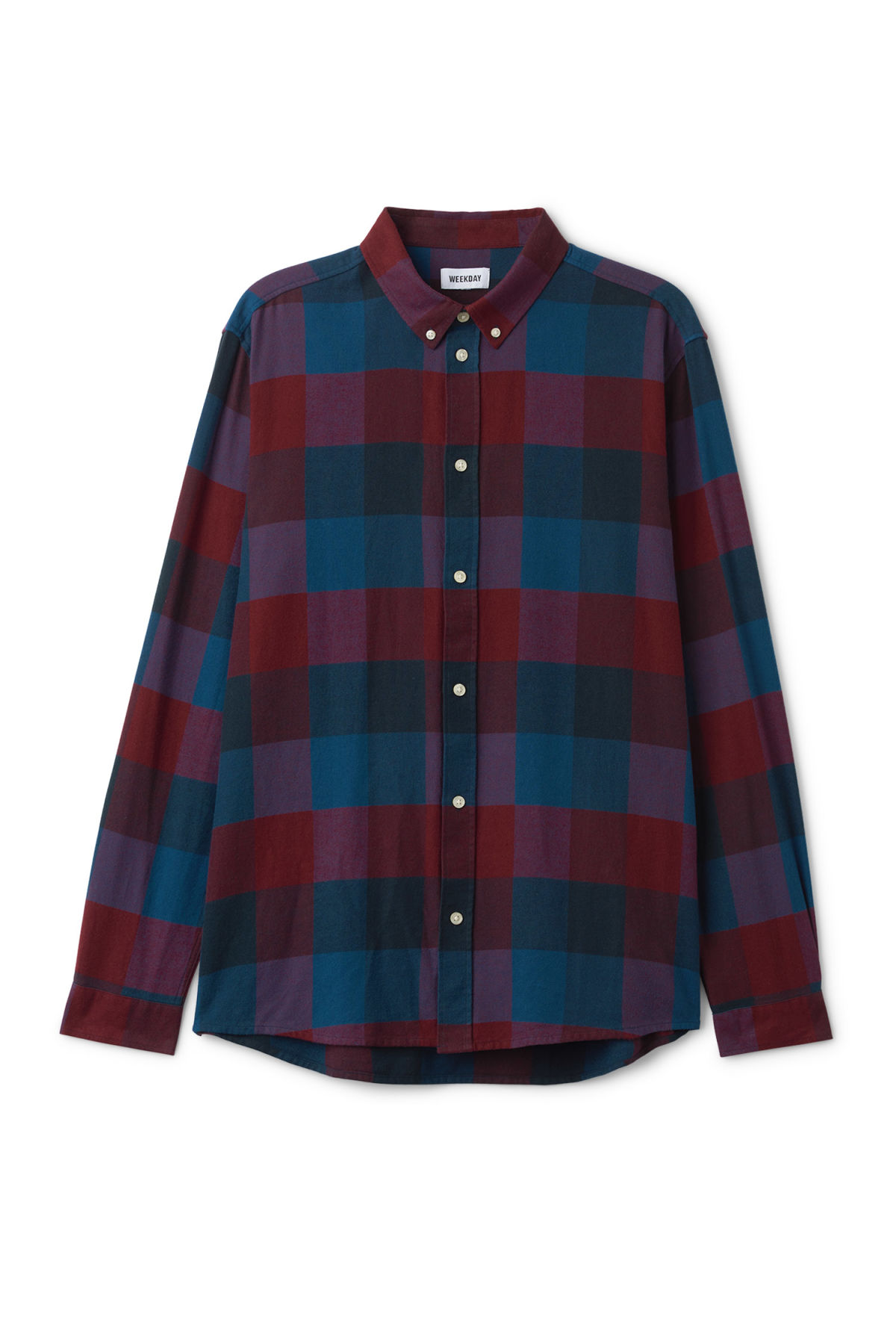 Front image of Weekday seattle check shirt in red