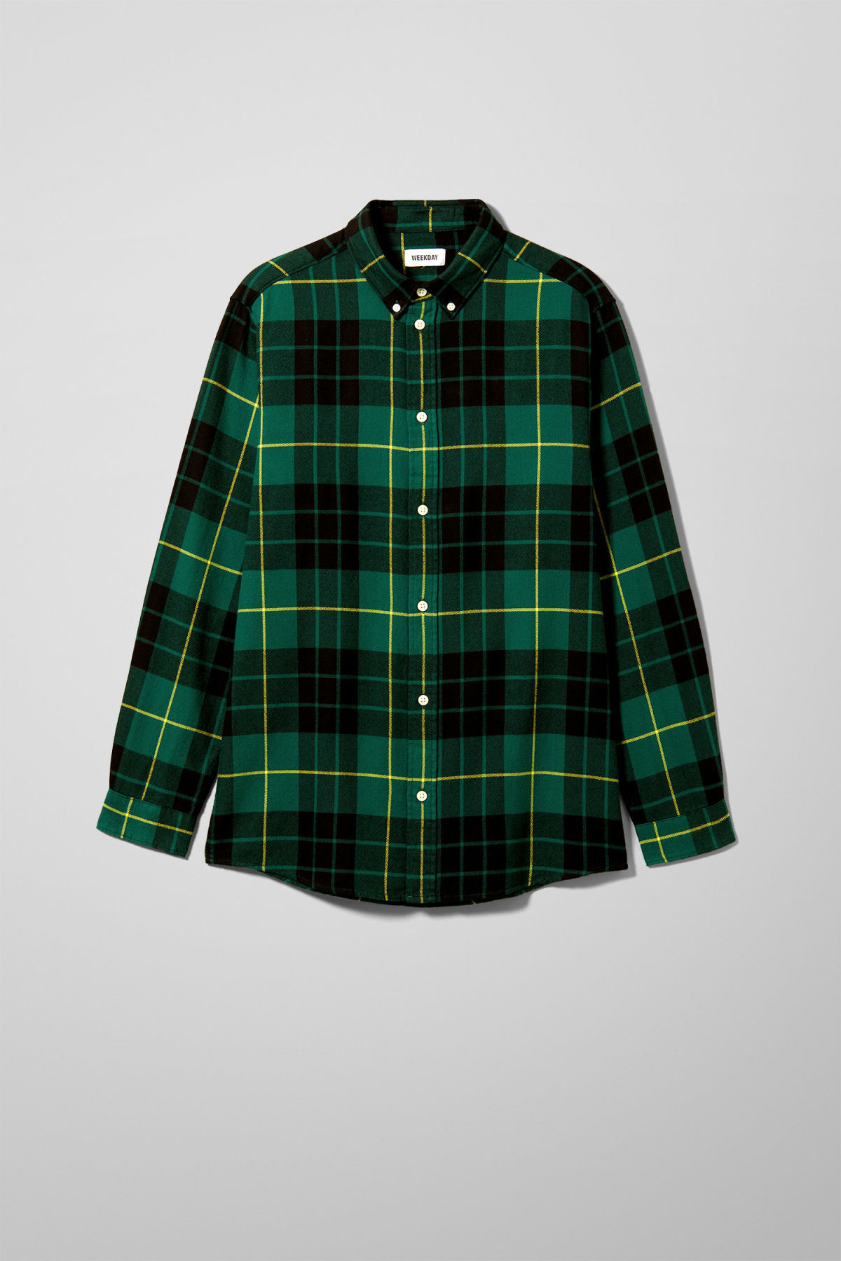 Front image of Weekday seattle check shirt in green