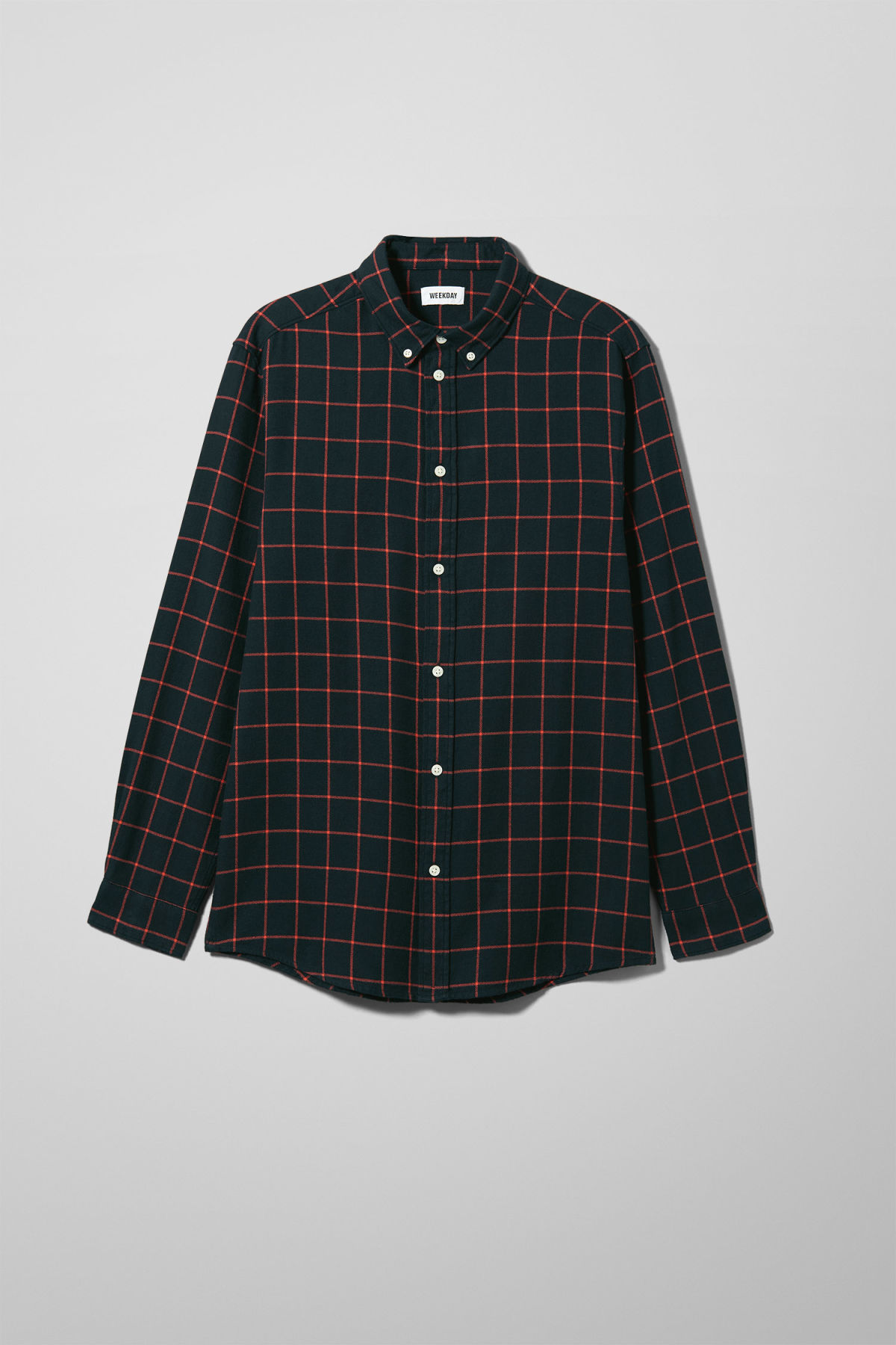 Front image of Weekday seattle check shirt in blue