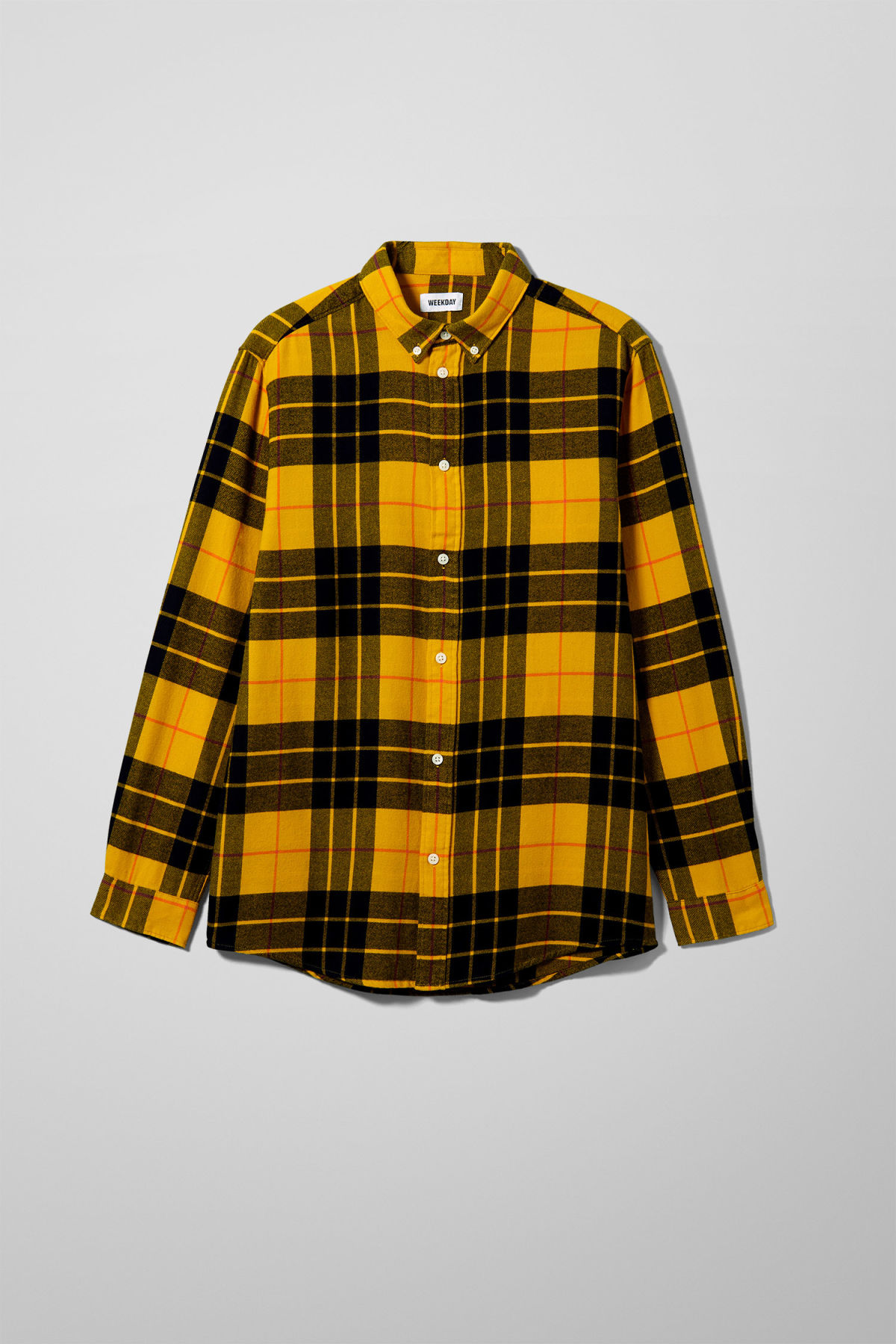 Front image of Weekday seattle check shirt in yellow