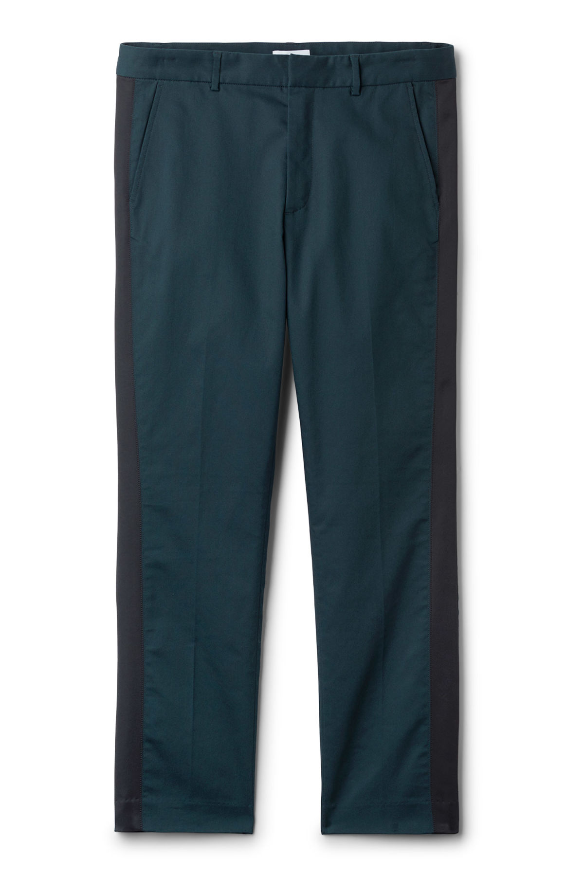 Front image of Weekday sergei side panel trousers in turquoise