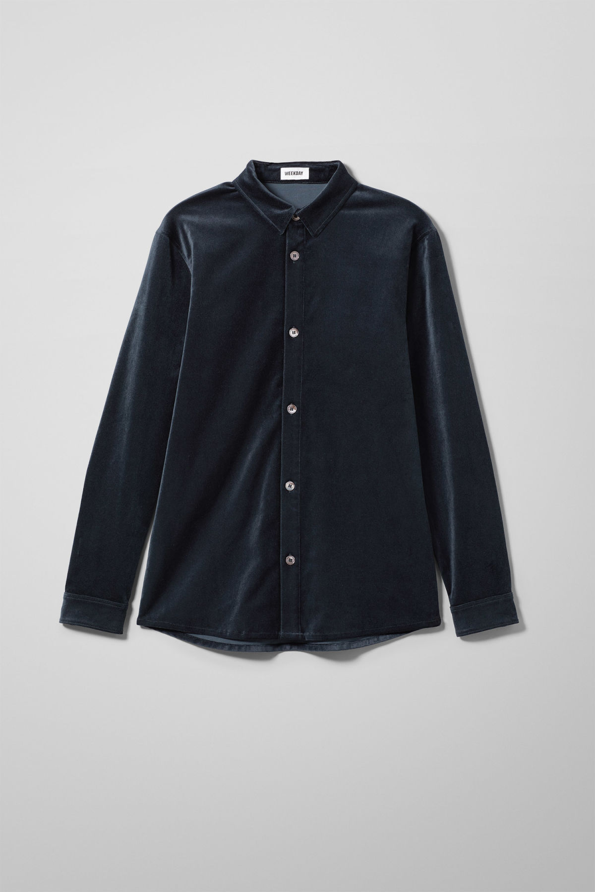 Front image of Weekday spit velvet shirt in blue