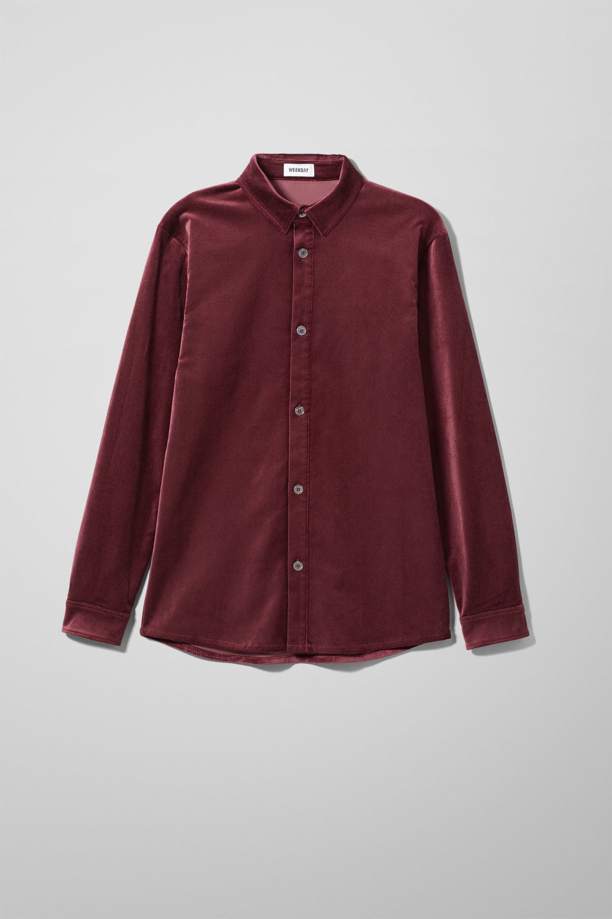 Front image of Weekday spit velvet shirt in red
