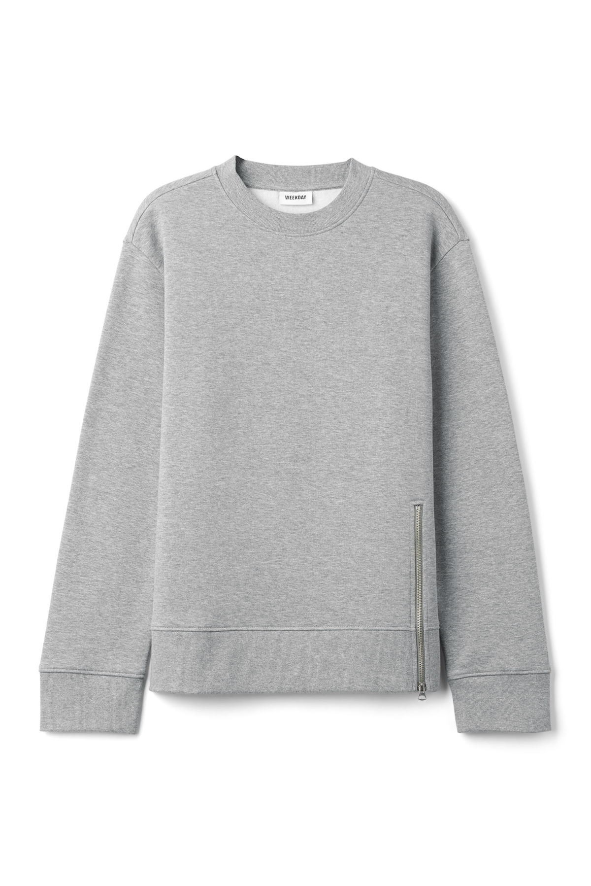 Front image of Weekday grant zip sweatshirt in grey