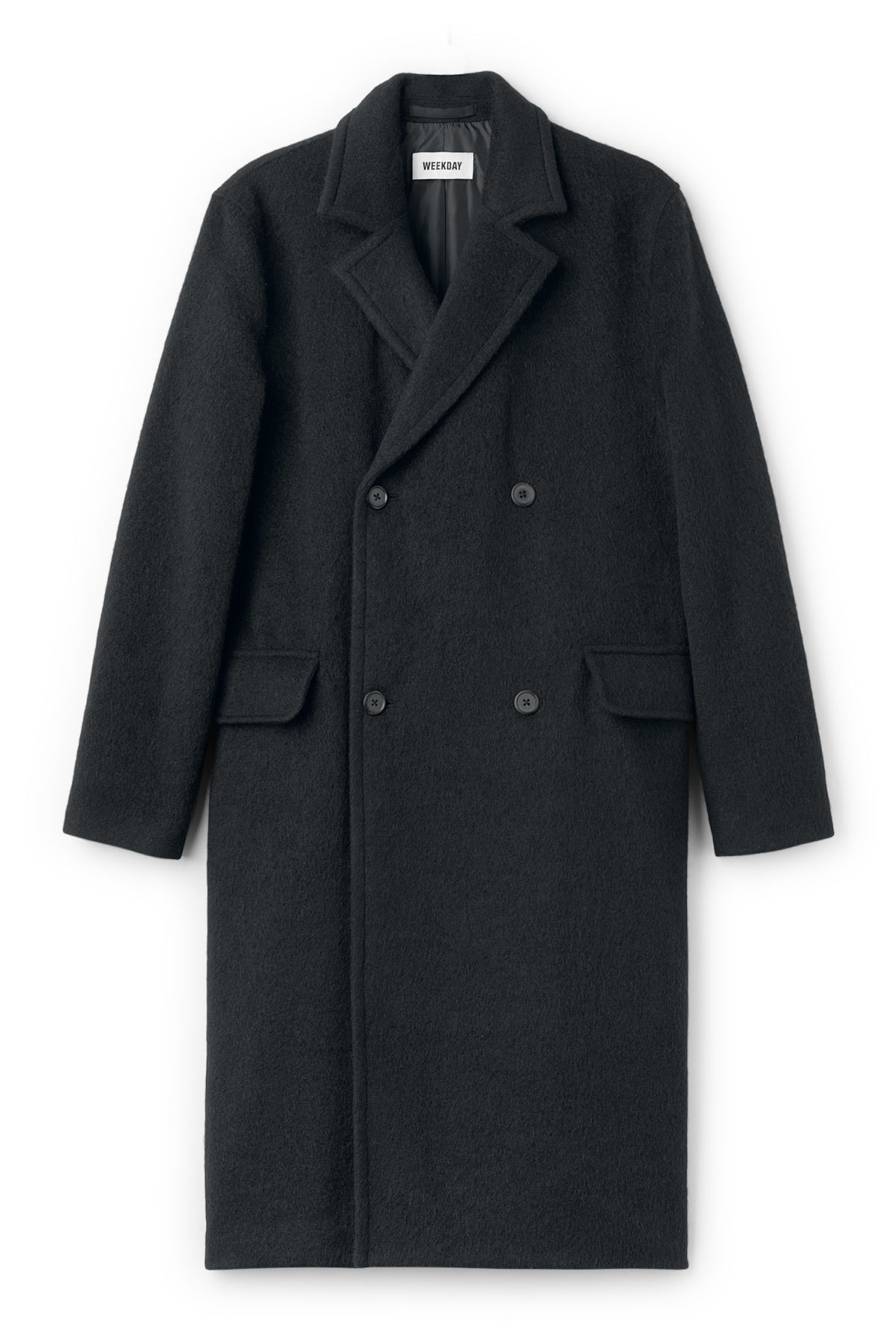 Front image of Weekday tristan coat in black