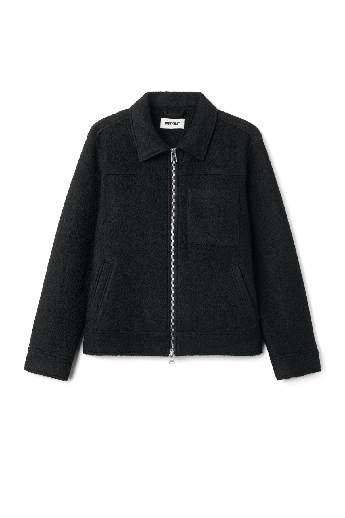Front image of Weekday merz jacket in black