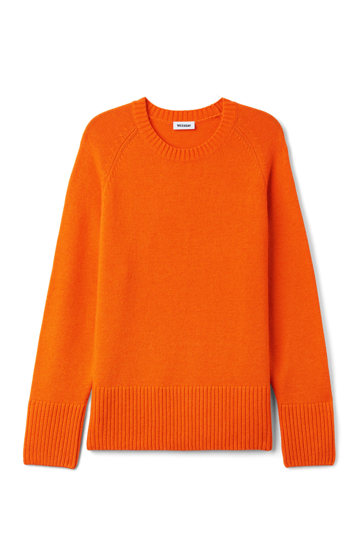Front image of Weekday mural sweater in orange