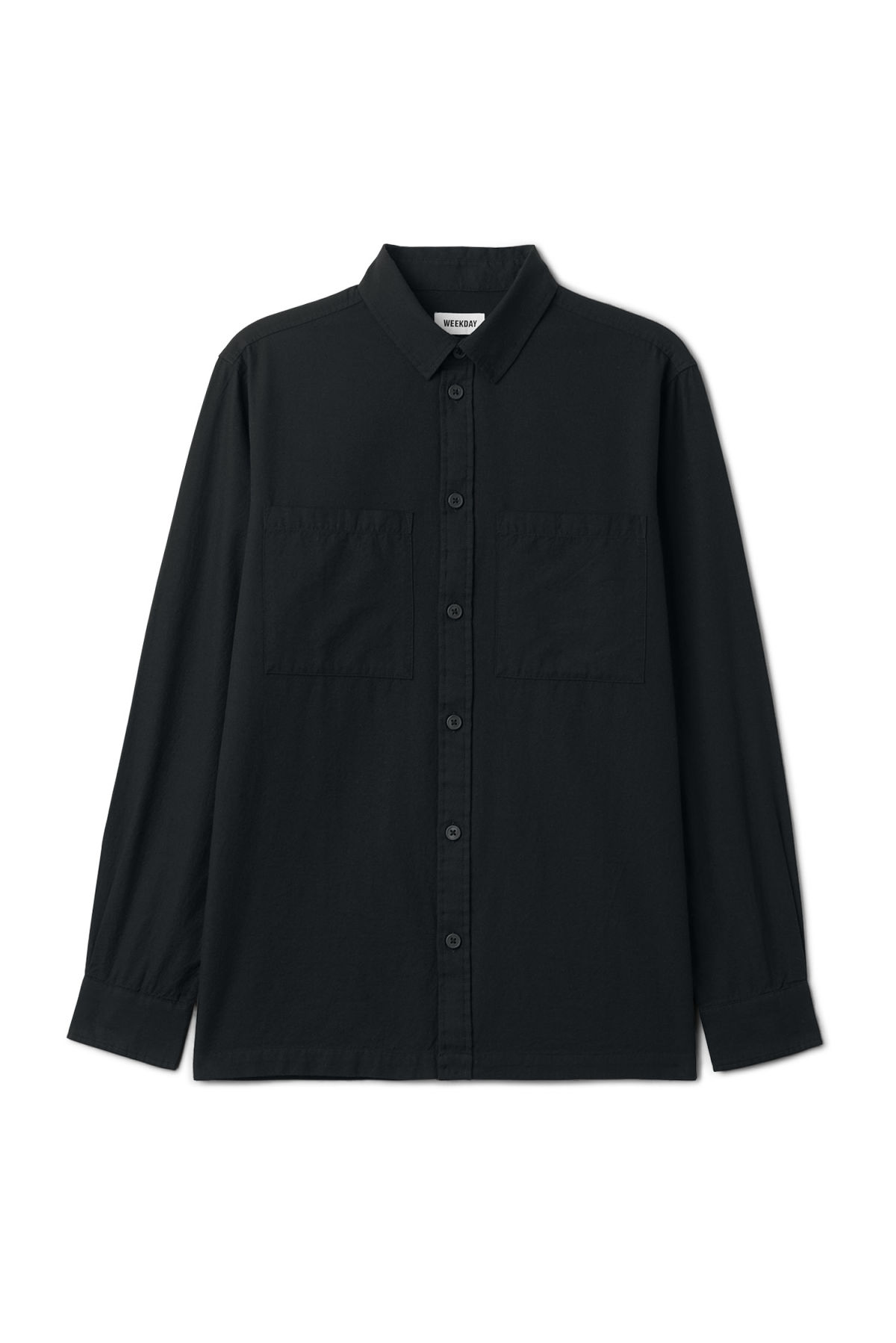 Front image of Weekday herbert shirt in black