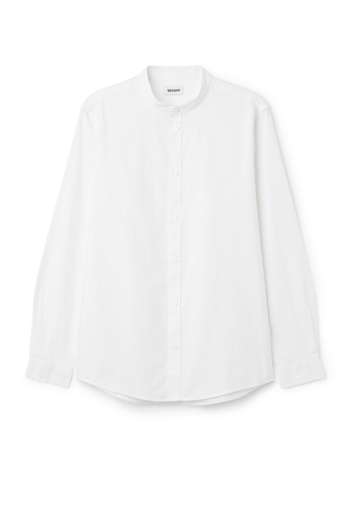 Front image of Weekday haring collarless shirt in white