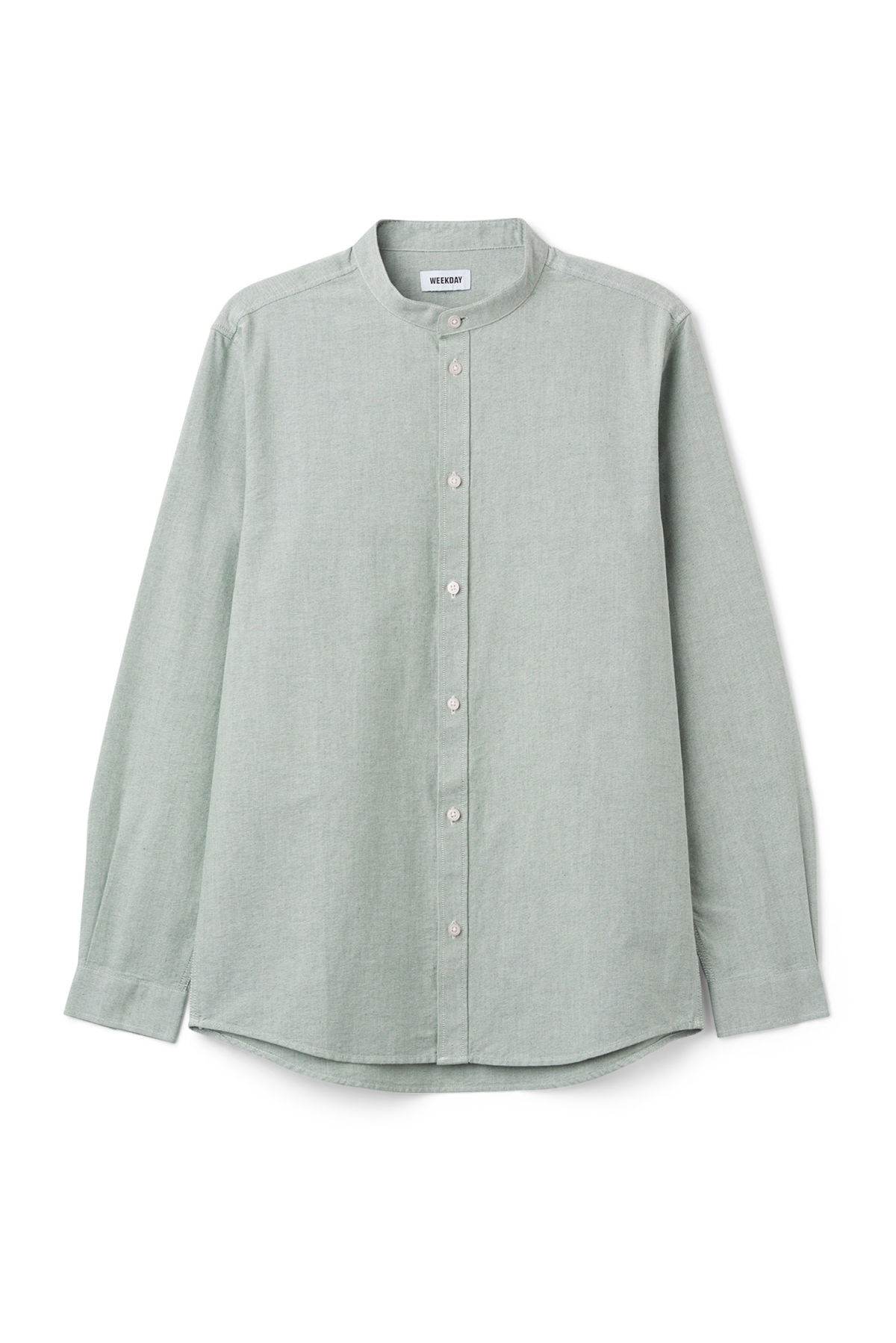 Front image of Weekday haring collarless shirt in green