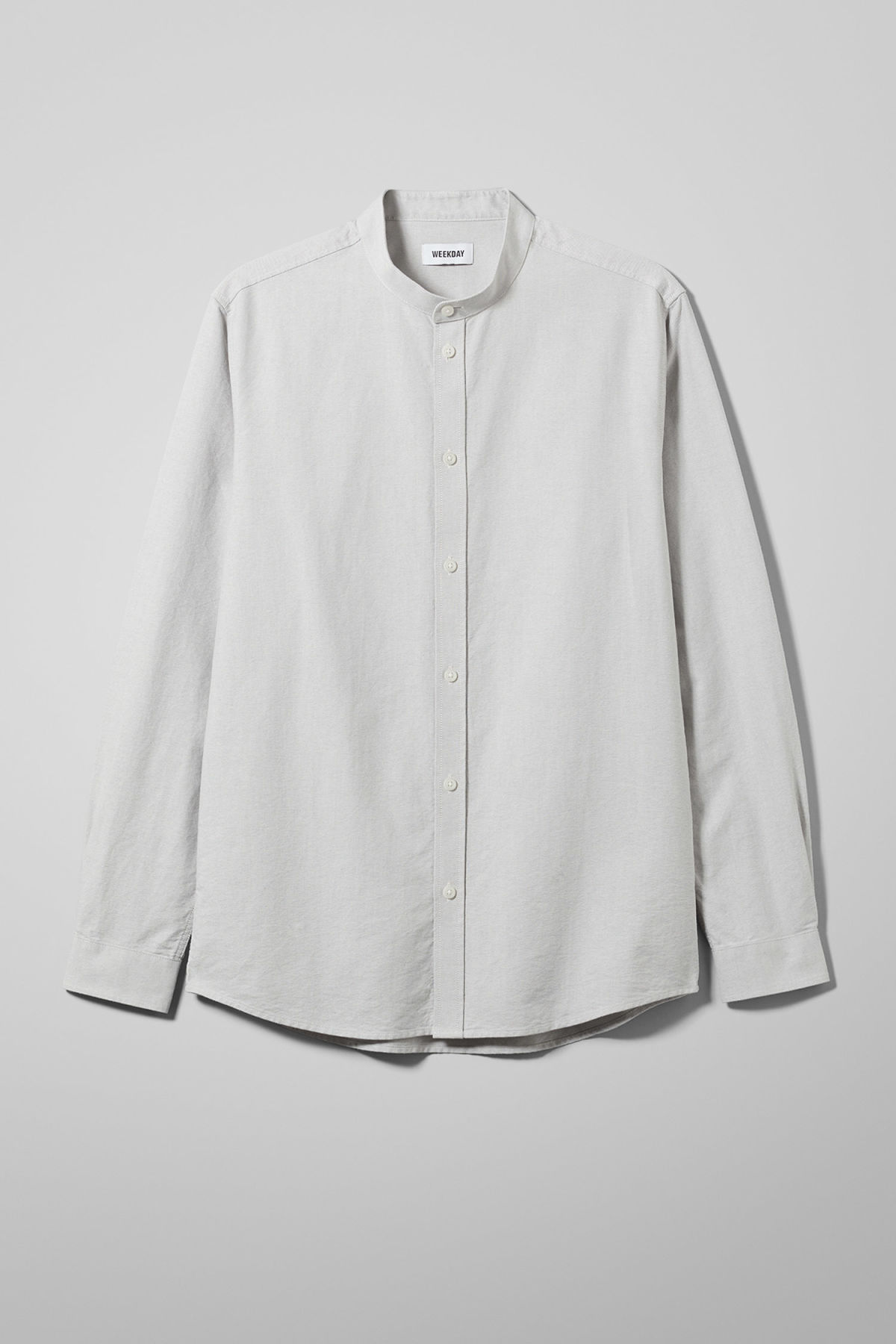 Front image of Weekday haring collarless shirt in grey