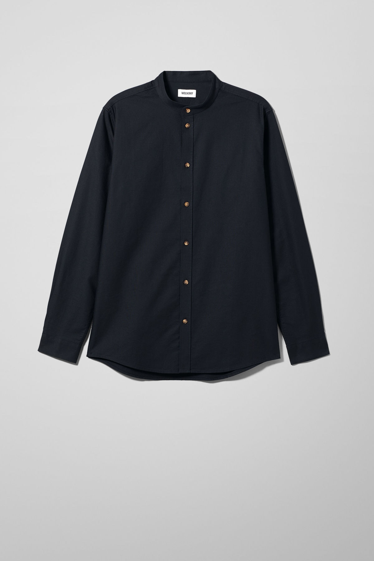 Front image of Weekday haring collarless shirt in black