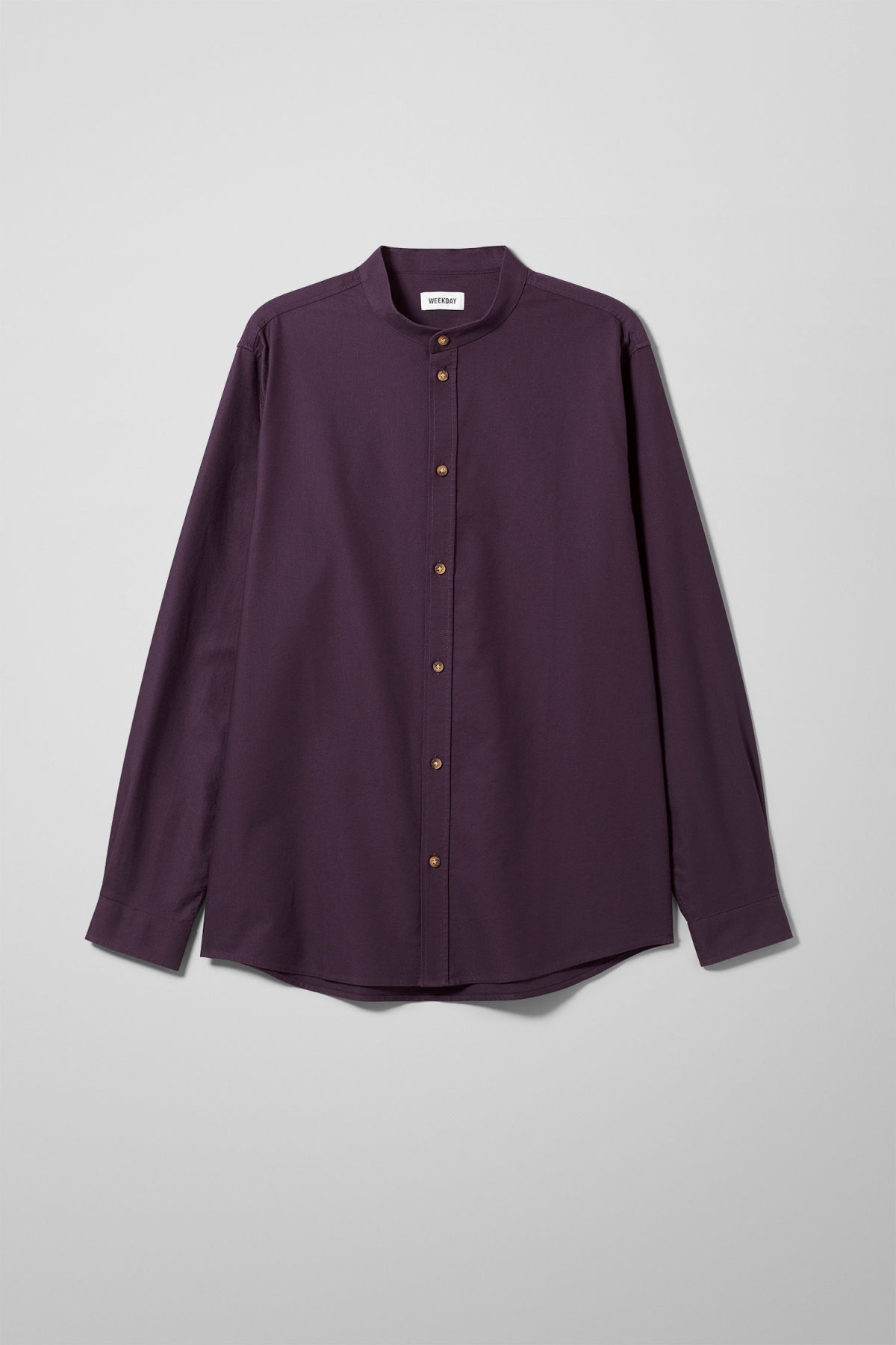 Front image of Weekday haring collarless shirt in purple