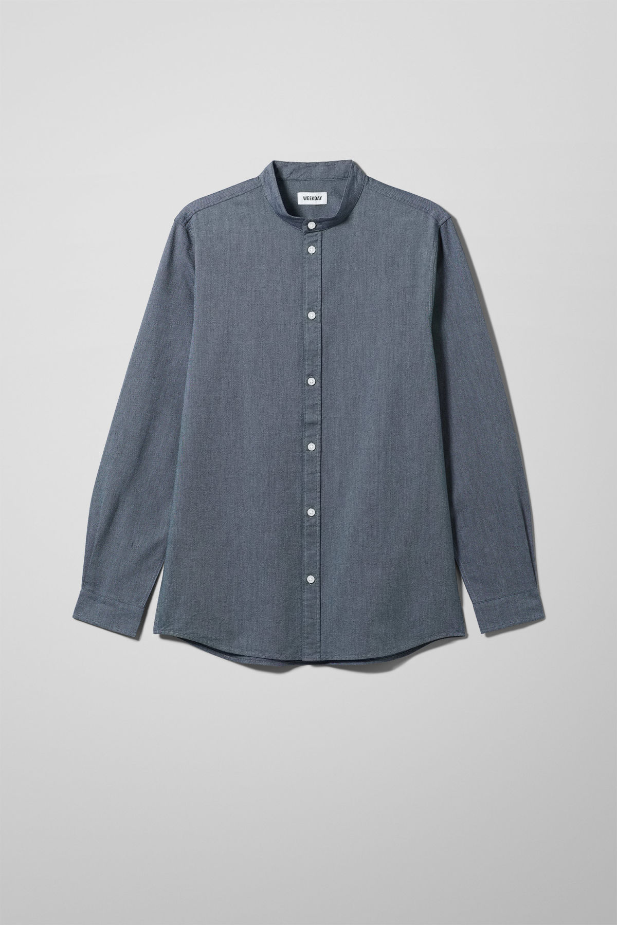 Front image of Weekday haring collarless shirt in blue
