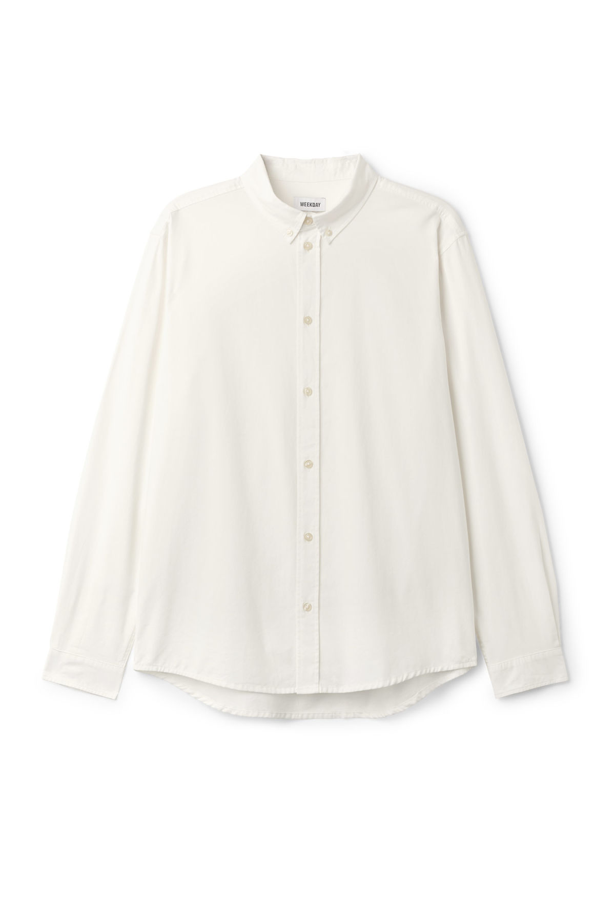 Front image of Weekday seattle twill shirt  in white