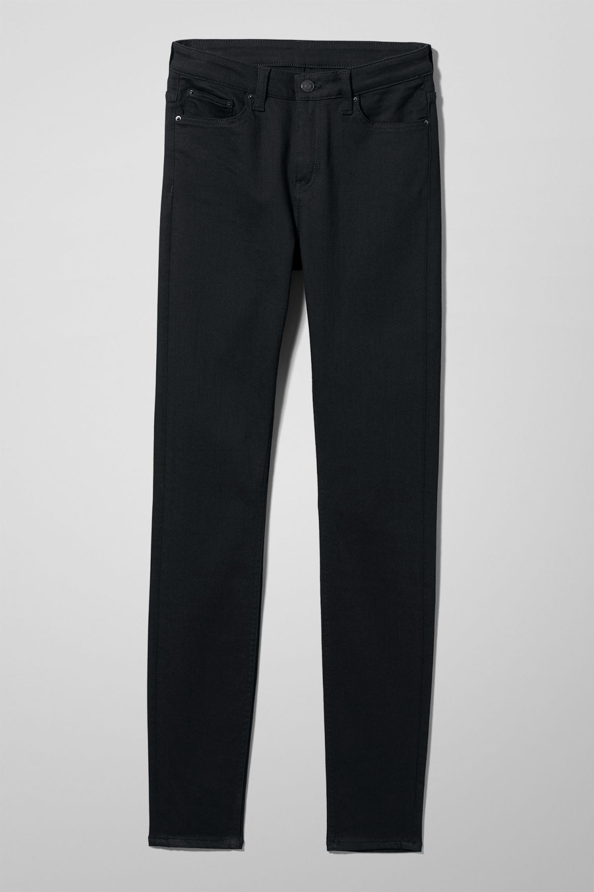 Front image of Weekday body stay black jeans in black