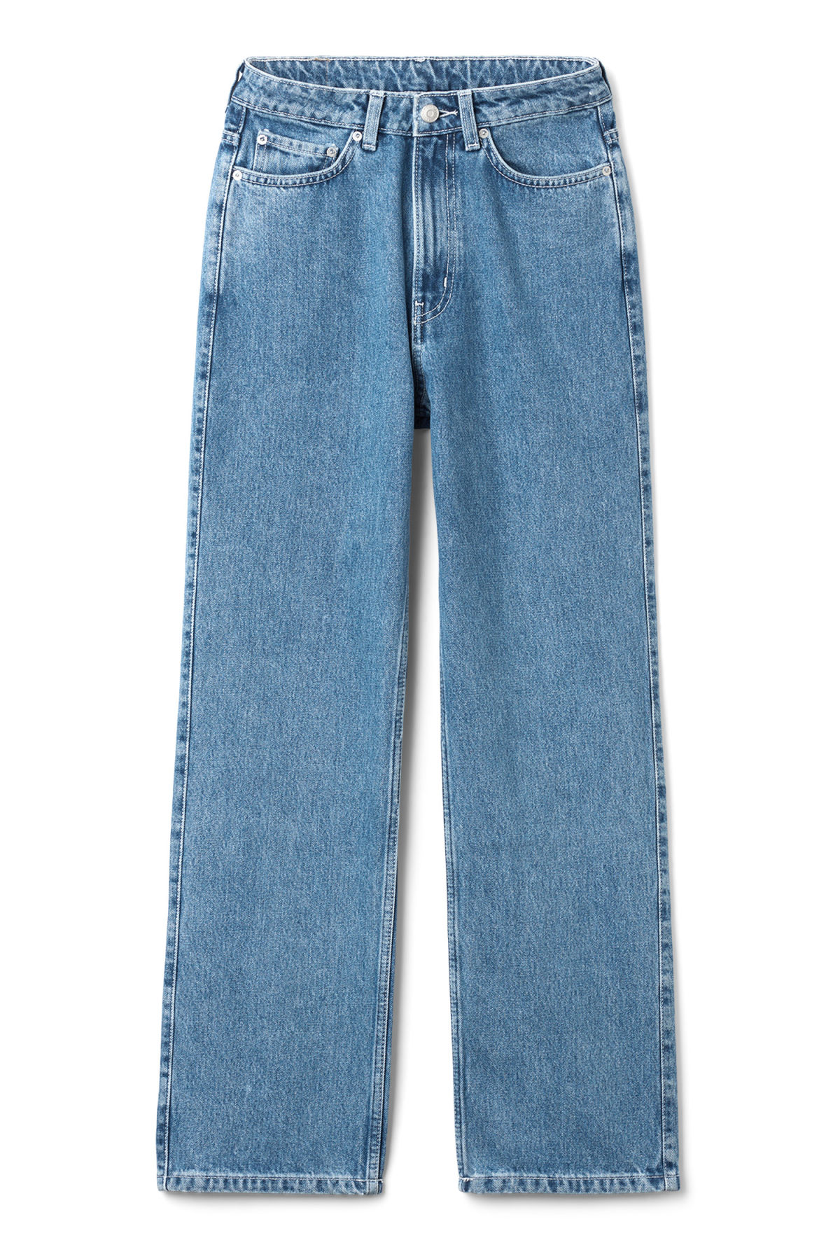 Front image of Weekday row sky blue jeans in blue