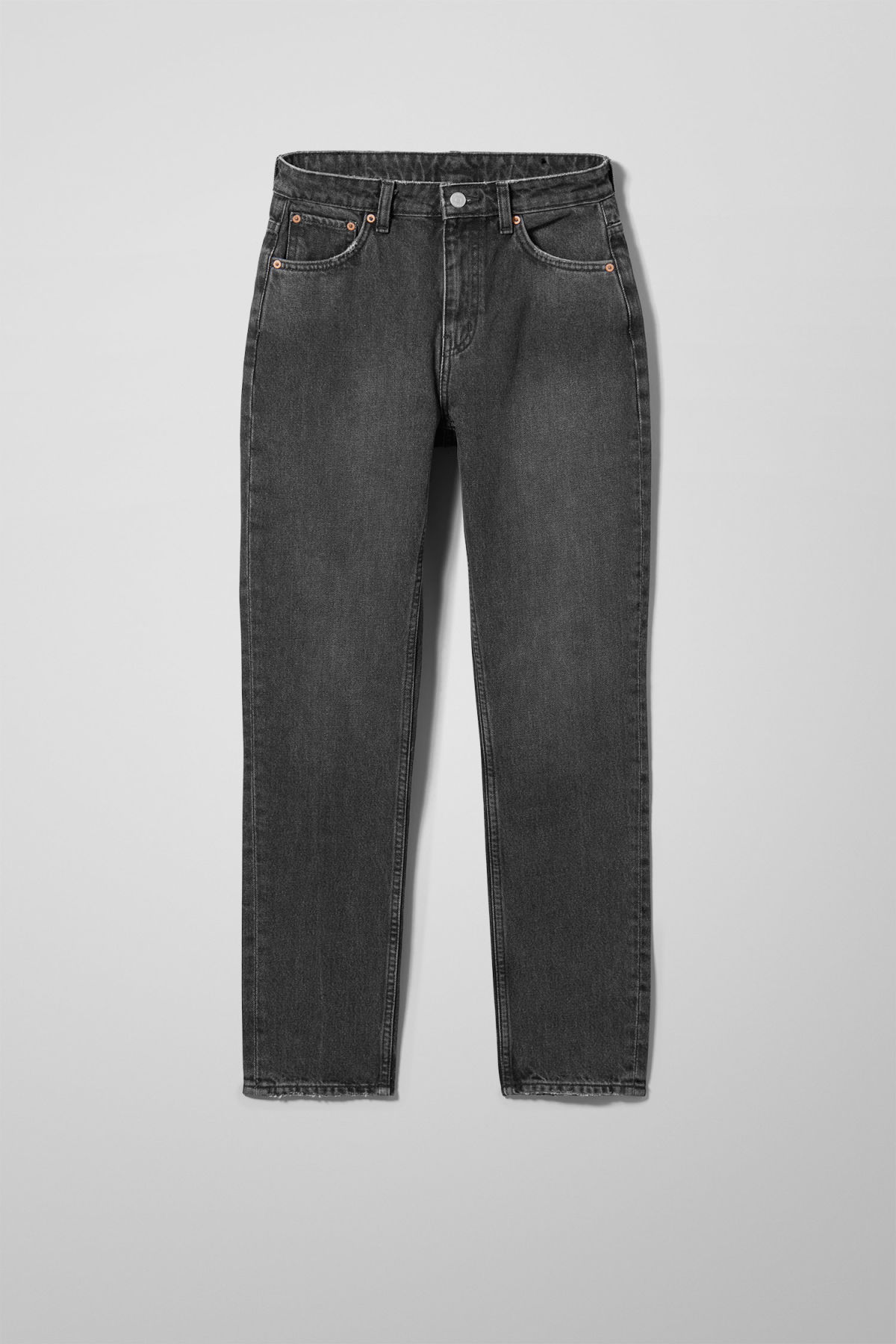 Front image of Weekday seattle trotter black jeans in black