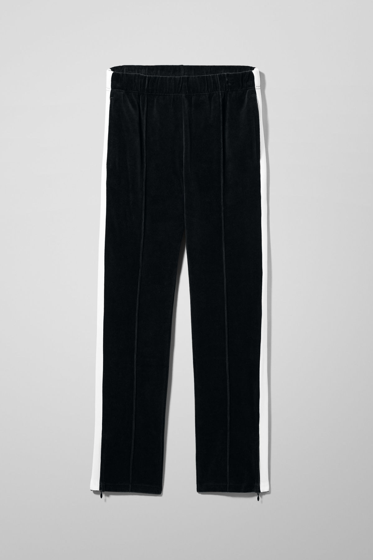 Front image of Weekday local velour sweatpants in black