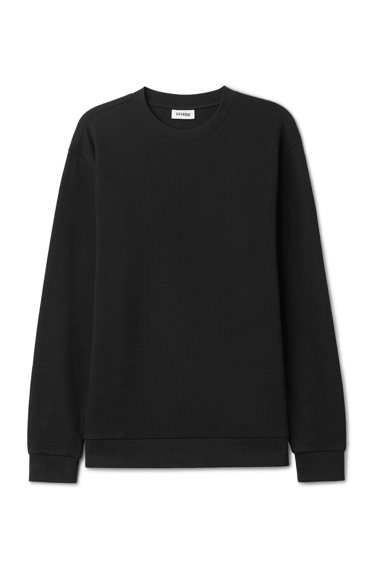 Front image of Weekday steve structured sweatshirt in black