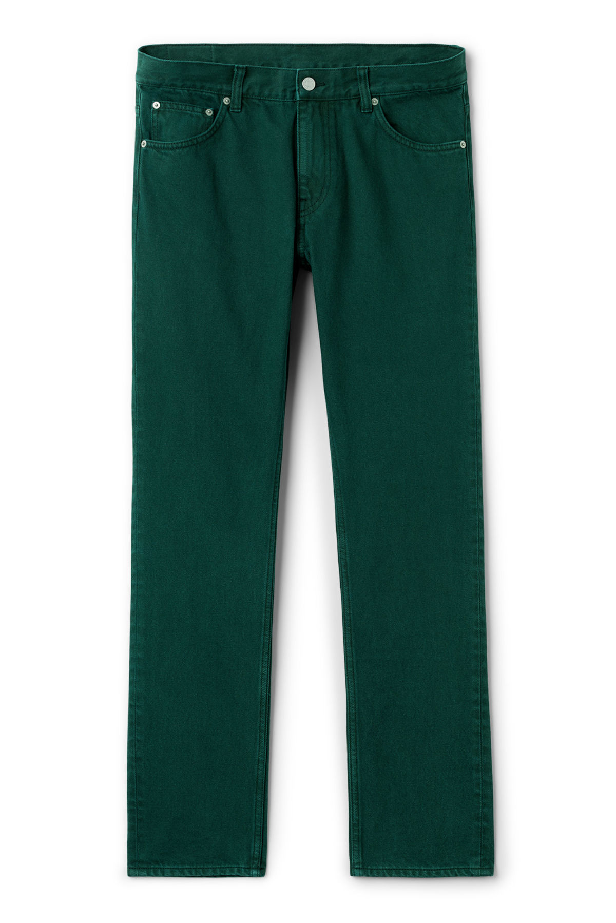Front image of Weekday friday bottle green jeans in green