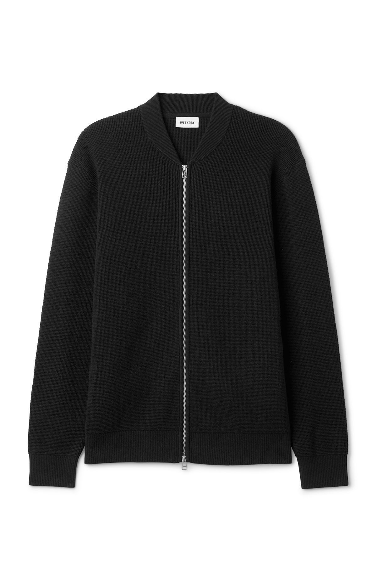 Front image of Weekday profile zip sweater in black