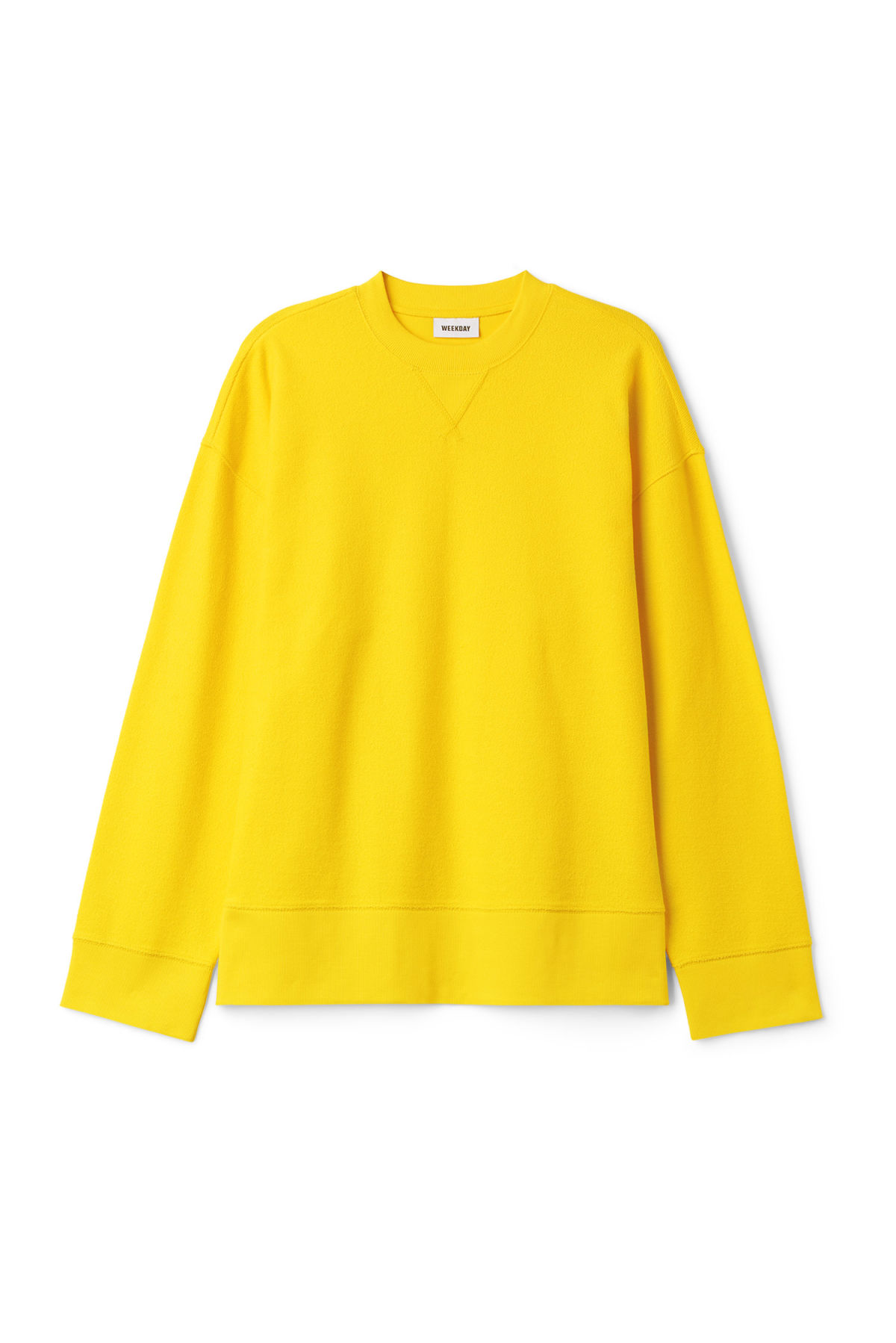 Front image of Weekday kyle sweatshirt in yellow
