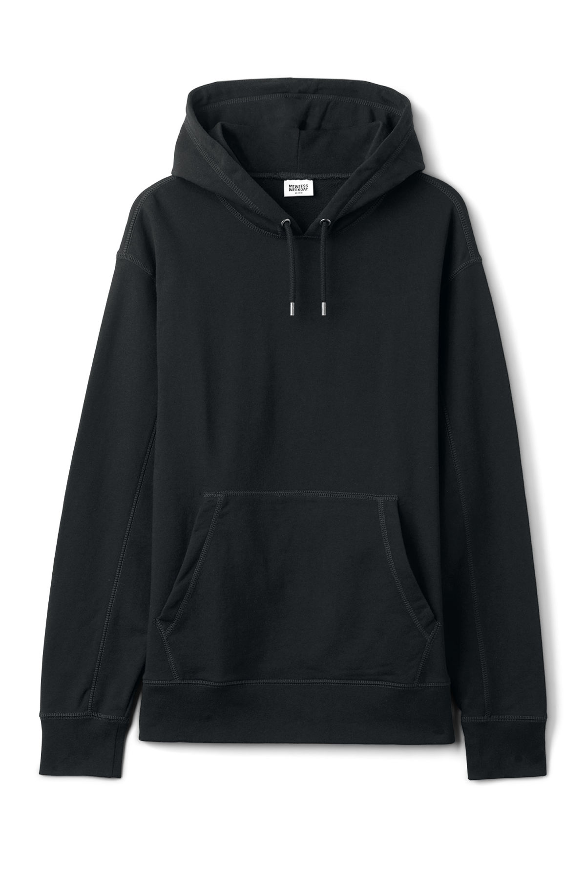 Front image of Weekday joel hoodie in black