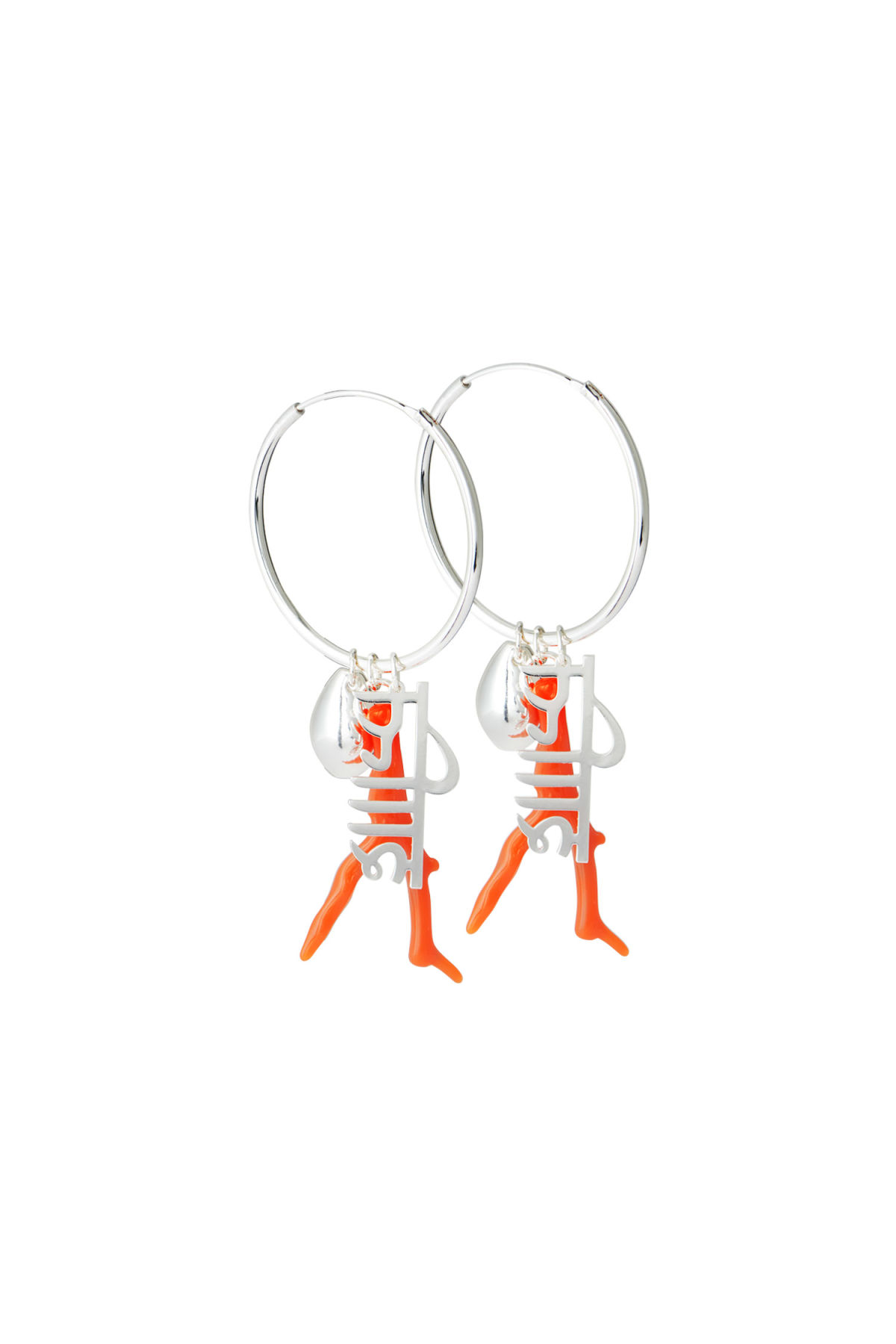 Front image of Weekday myth hoop earrings in silver