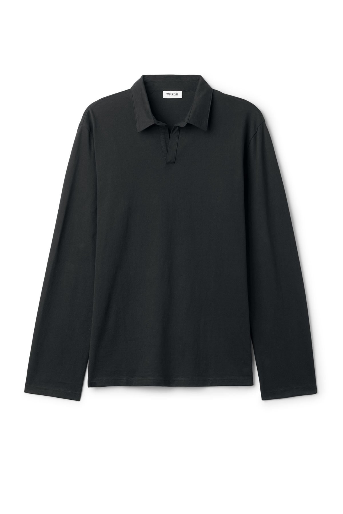 Front image of Weekday pop polo long sleeve in black