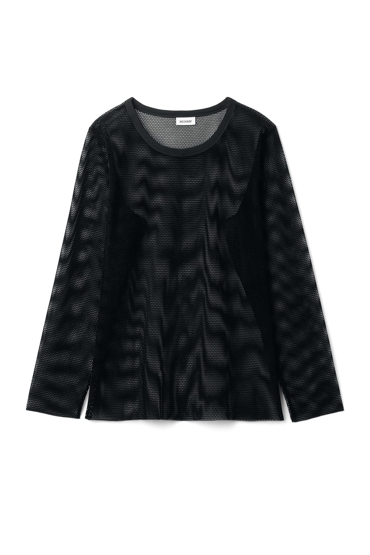 Front image of Weekday chain mesh long sleeve  in black