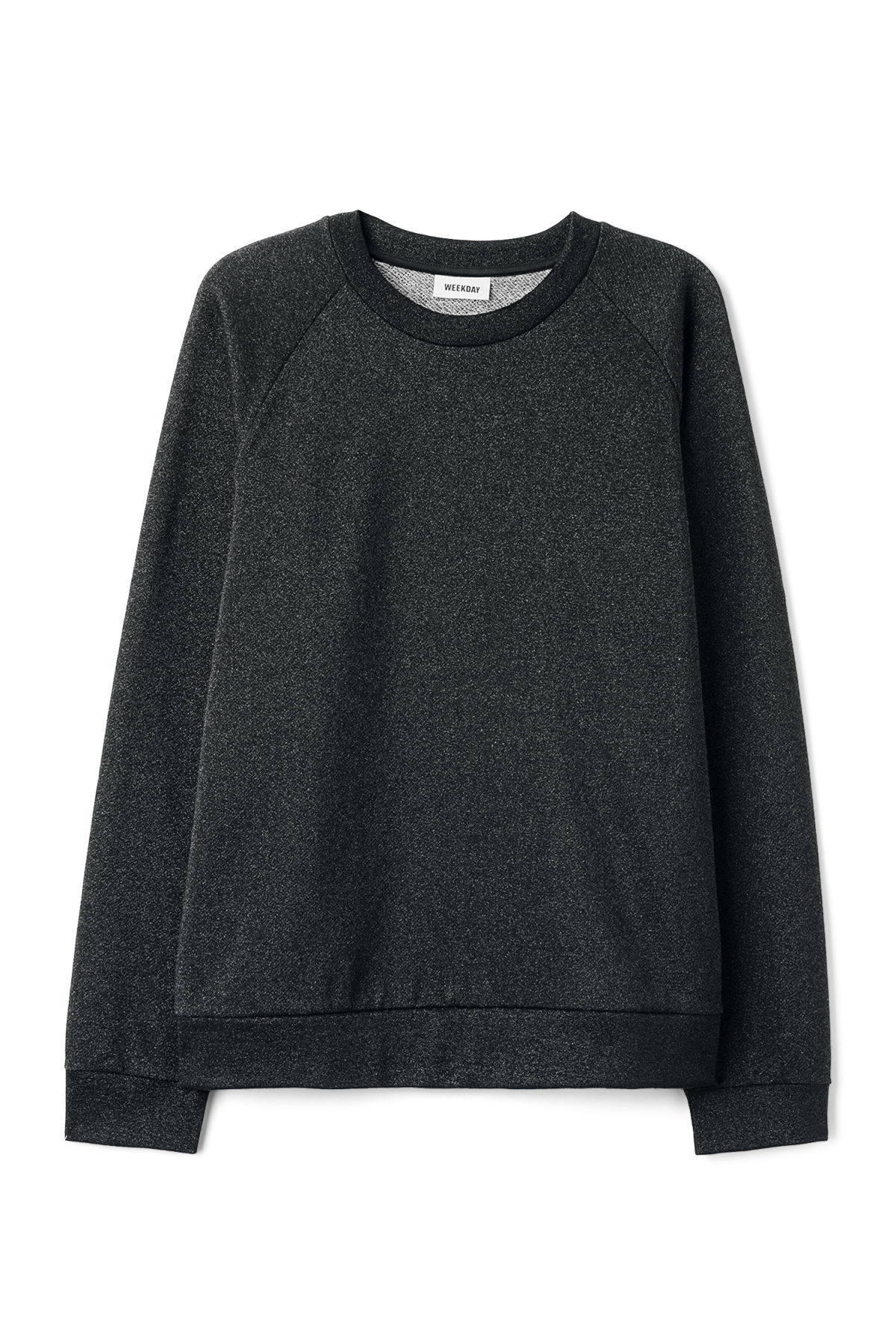 Front image of Weekday curt glitter sweatshirt in black