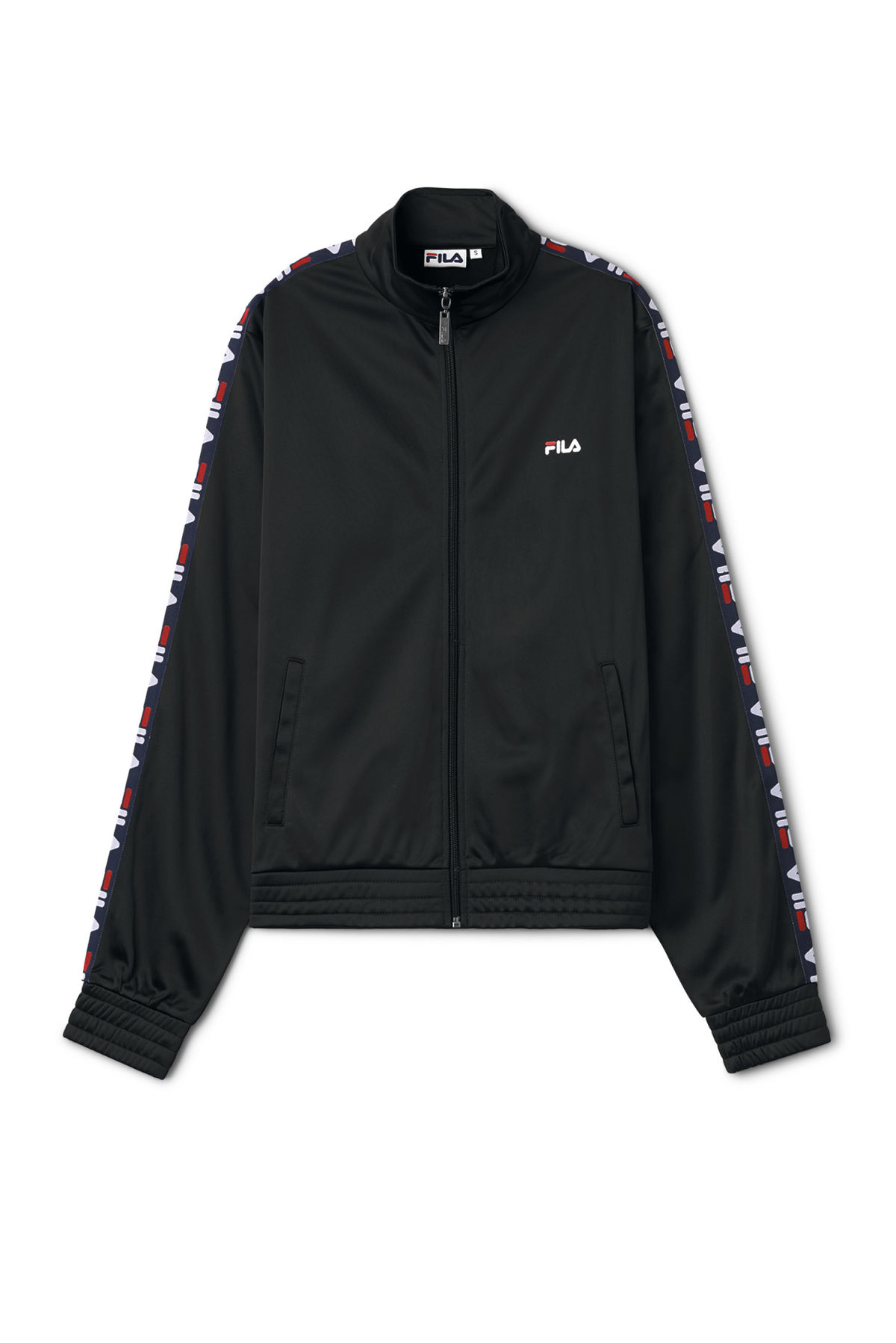 Front image of Weekday strap track jacket in black