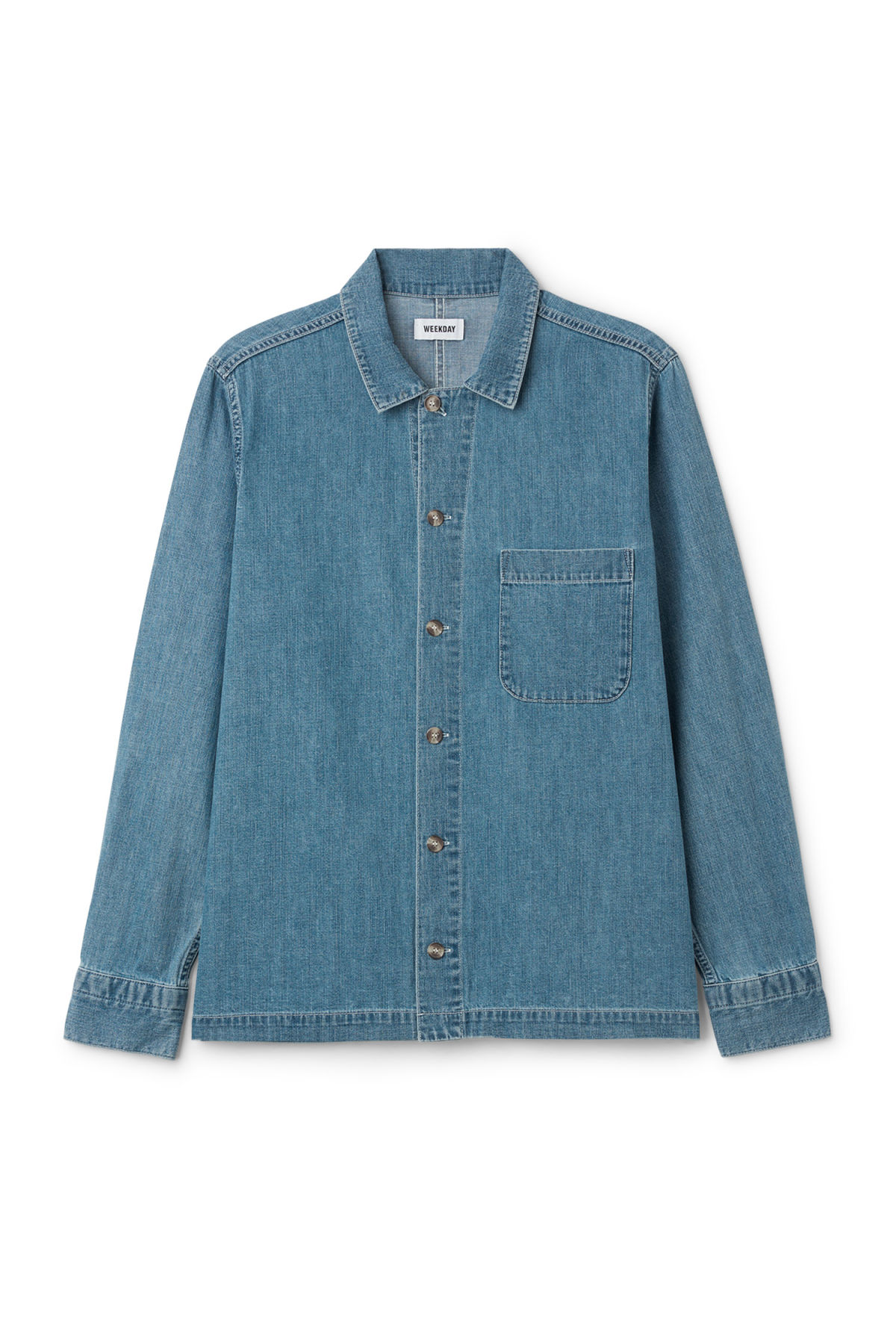 Front image of Weekday century shirt iso blu in blue