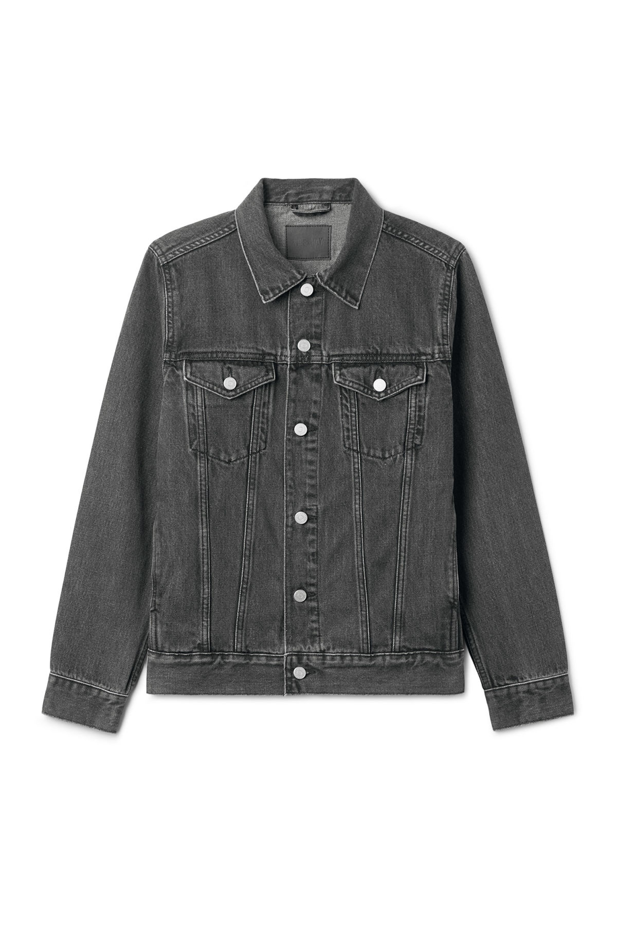 Front image of Weekday single free black jacket  in grey