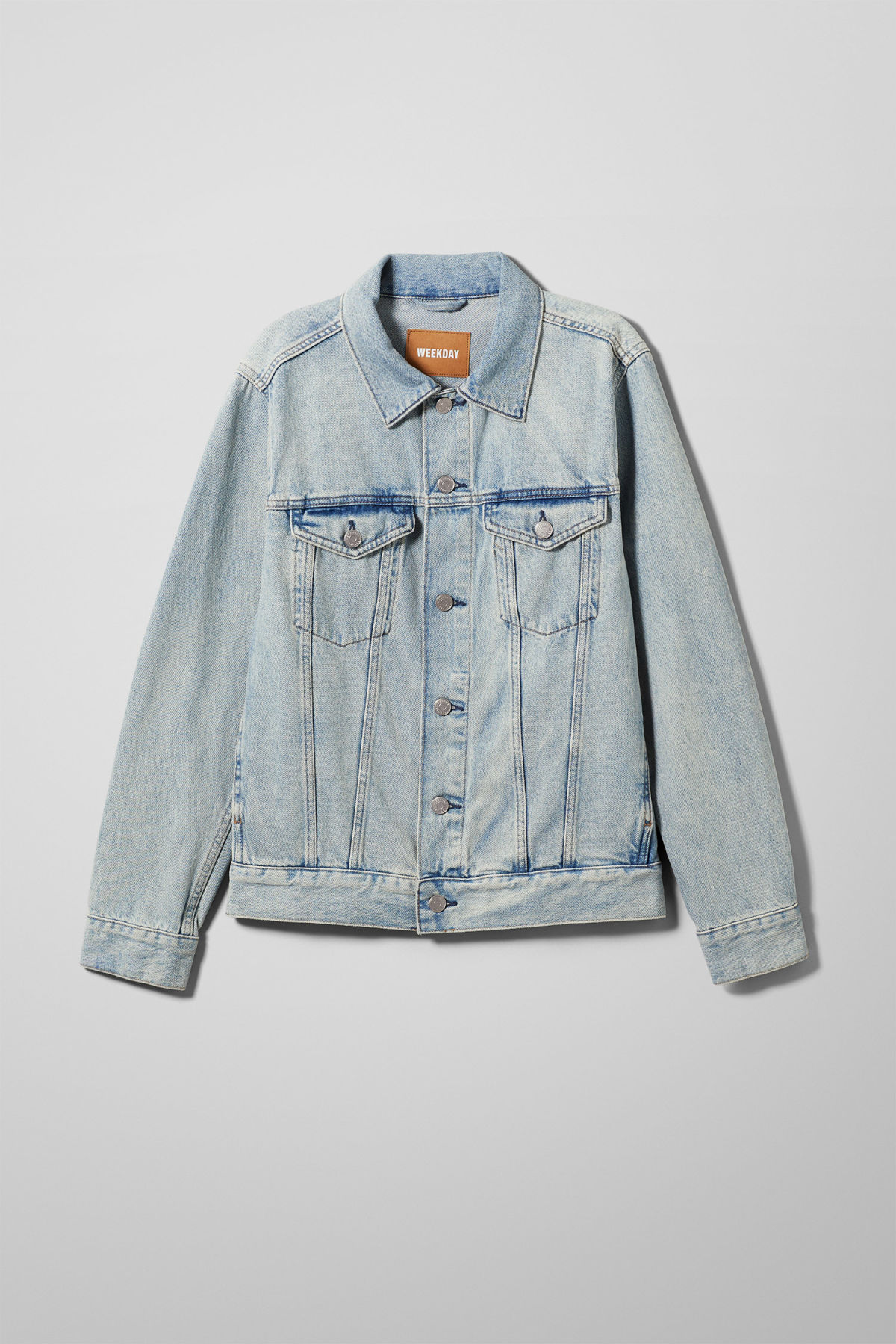 Front image of Weekday single spring blue jacket in blue