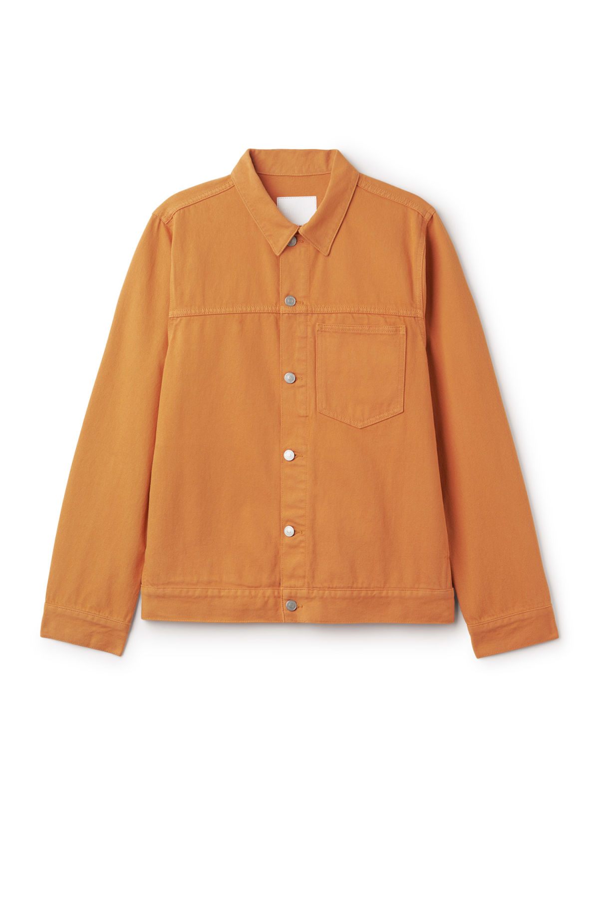 Front image of Weekday core  burned jacket in orange