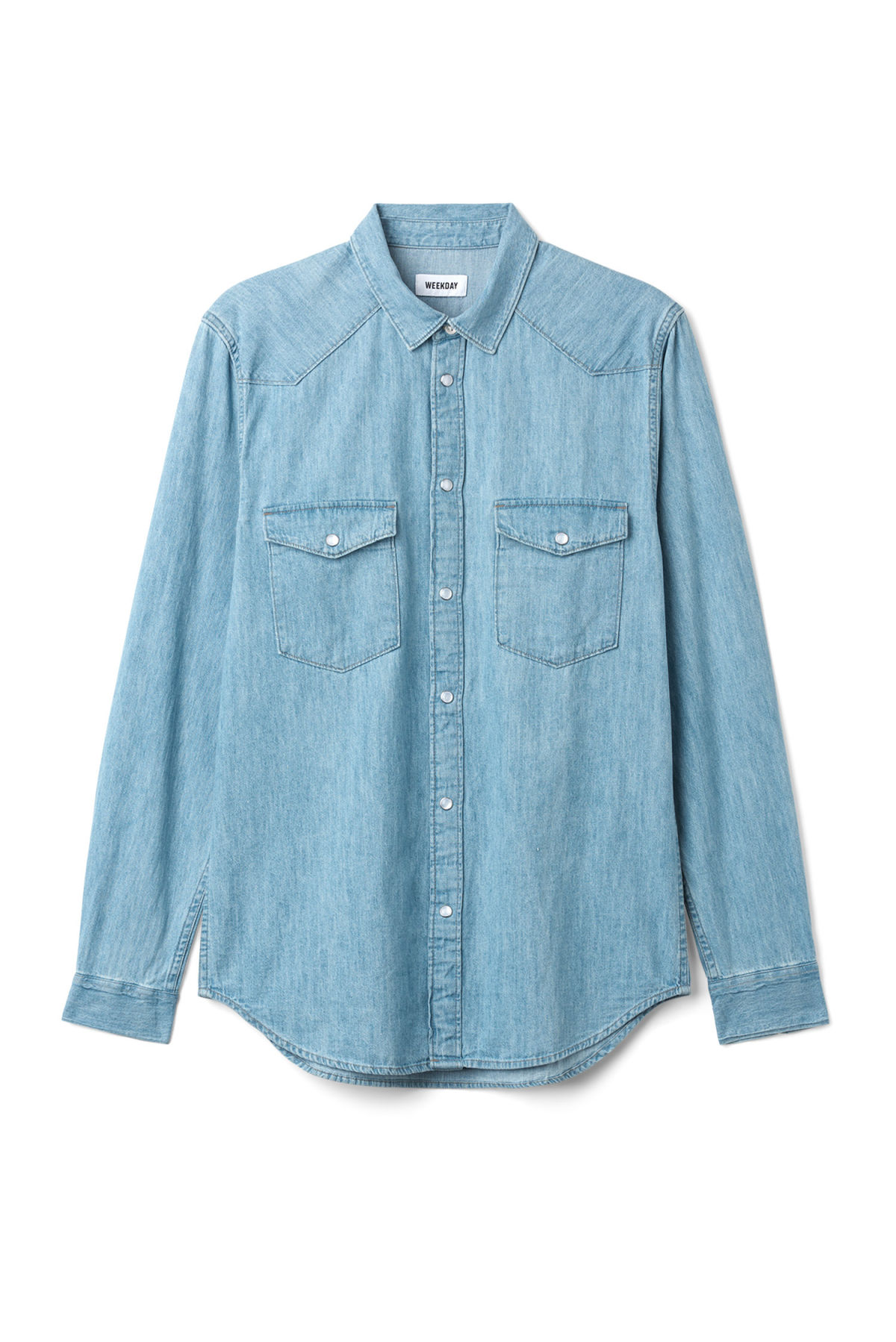 Front image of Weekday coy blue shirt  in blue