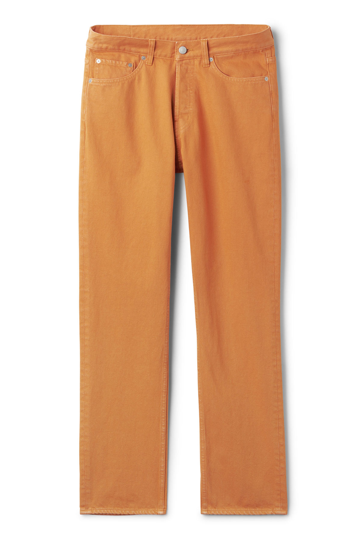Front image of Weekday vacant cropped burned jeans in orange
