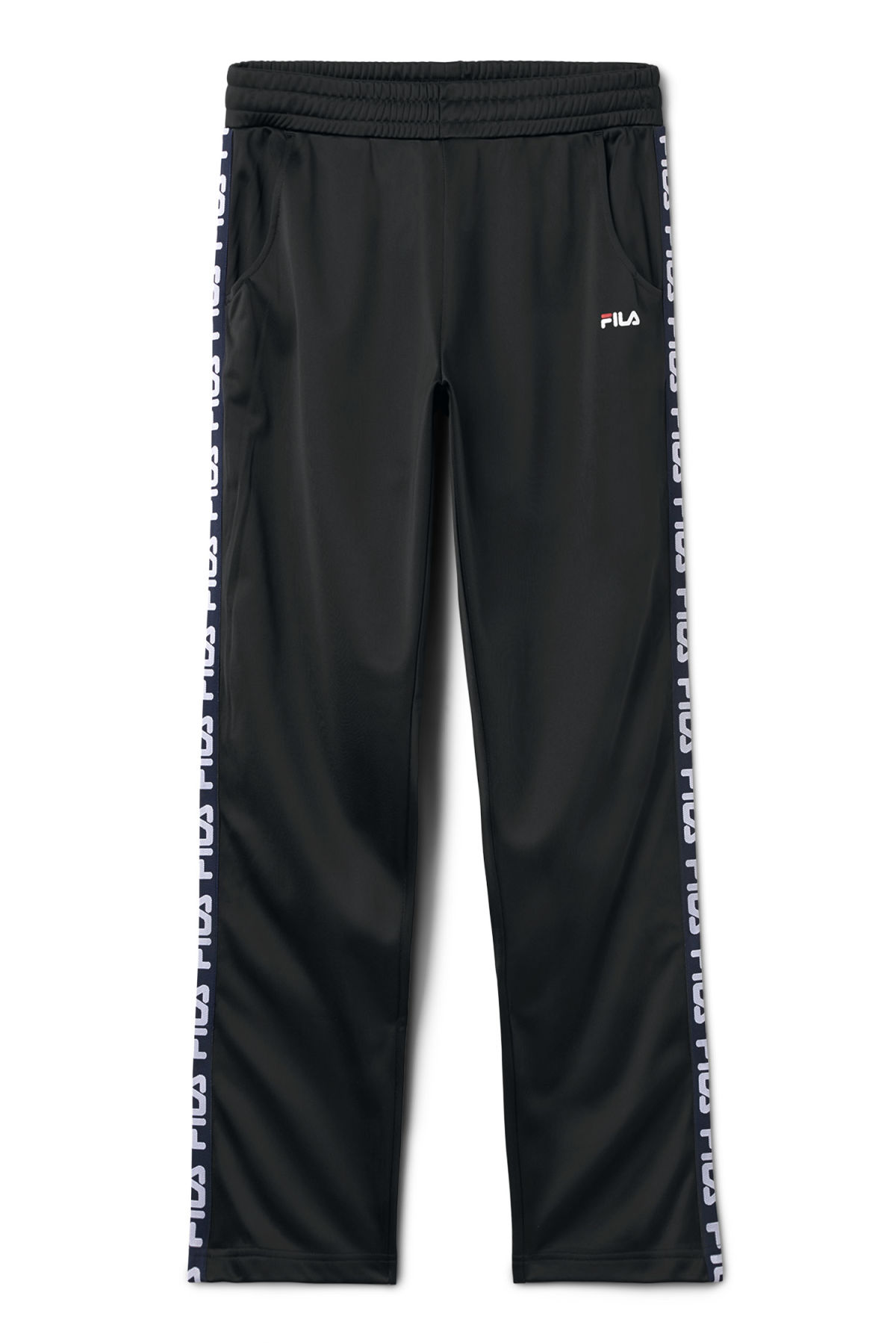 Front image of Weekday strap track pants in black