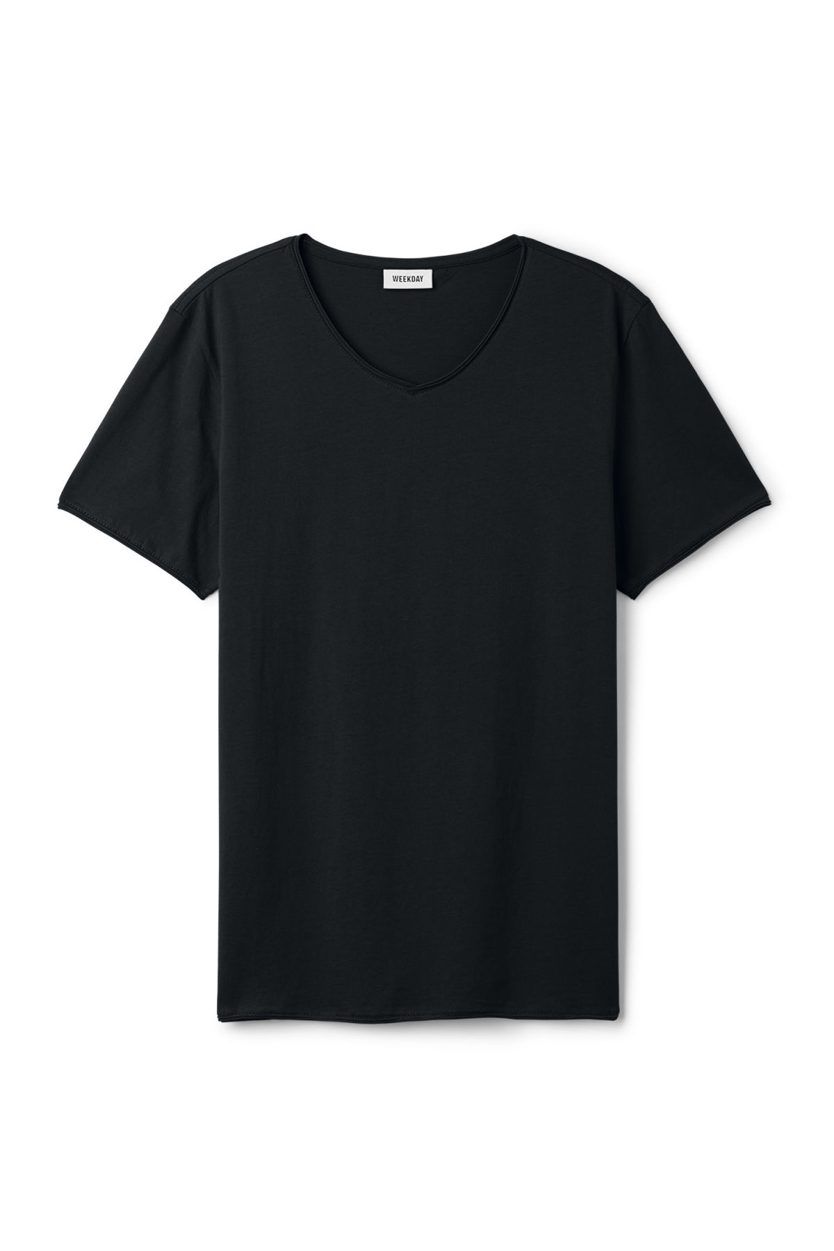Front image of Weekday dark v-neck t-shirt in black