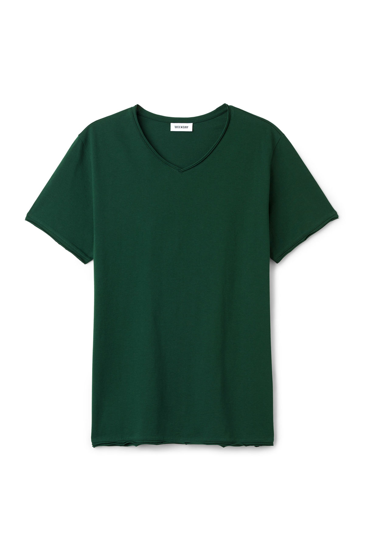 Front image of Weekday dark v-neck t-shirt in green