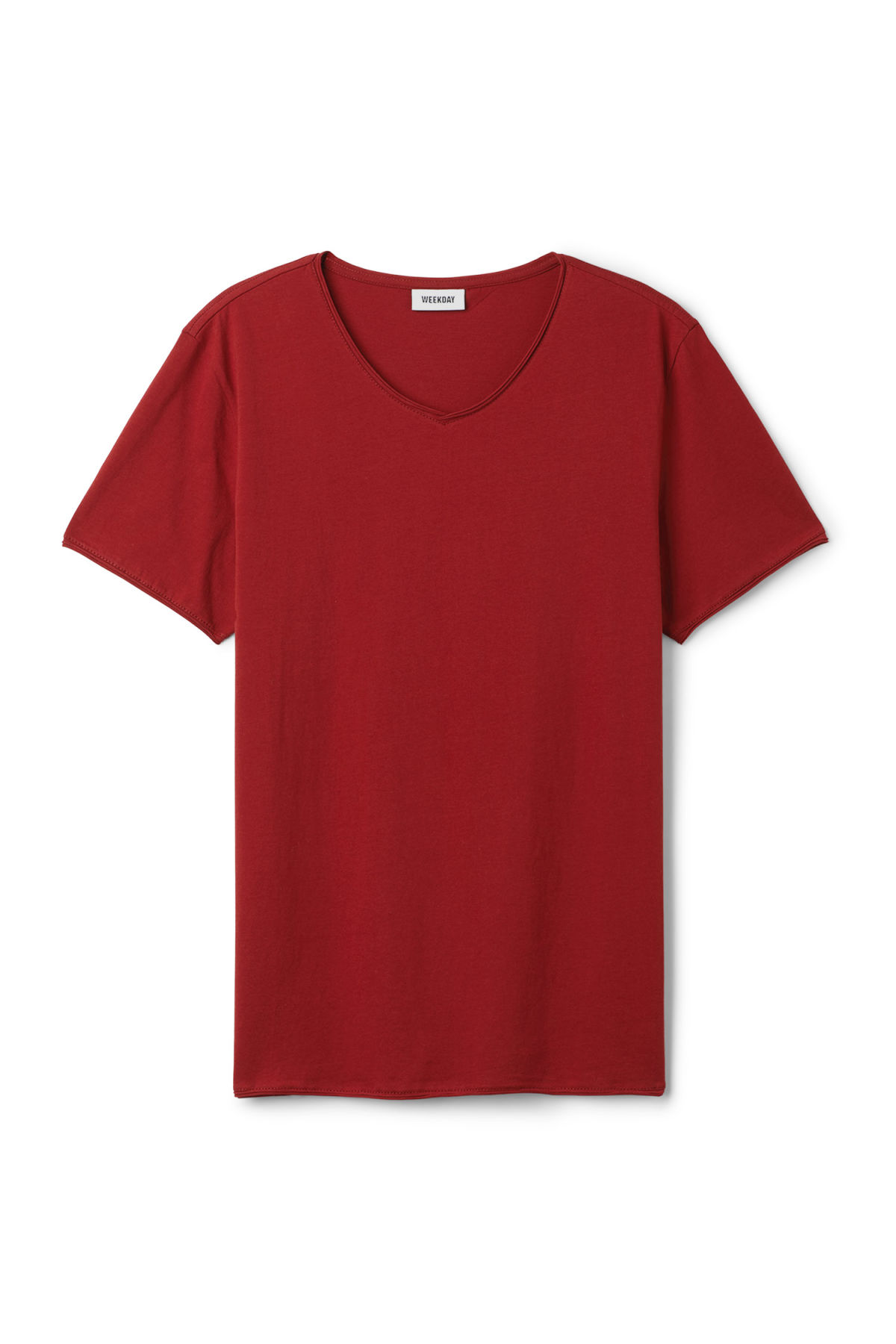 Front image of Weekday dark v-neck t-shirt in red