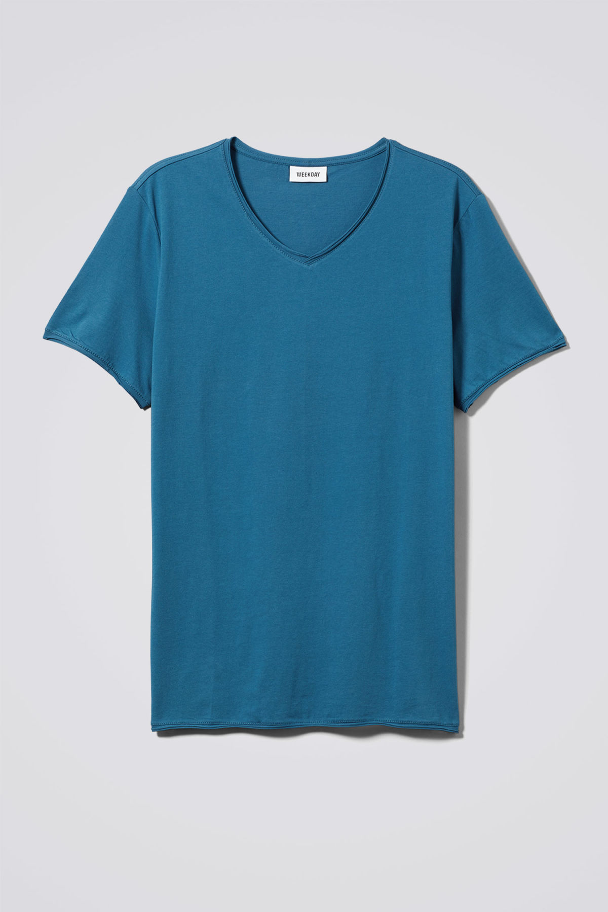 Front image of Weekday dark v-neck t-shirt in blue
