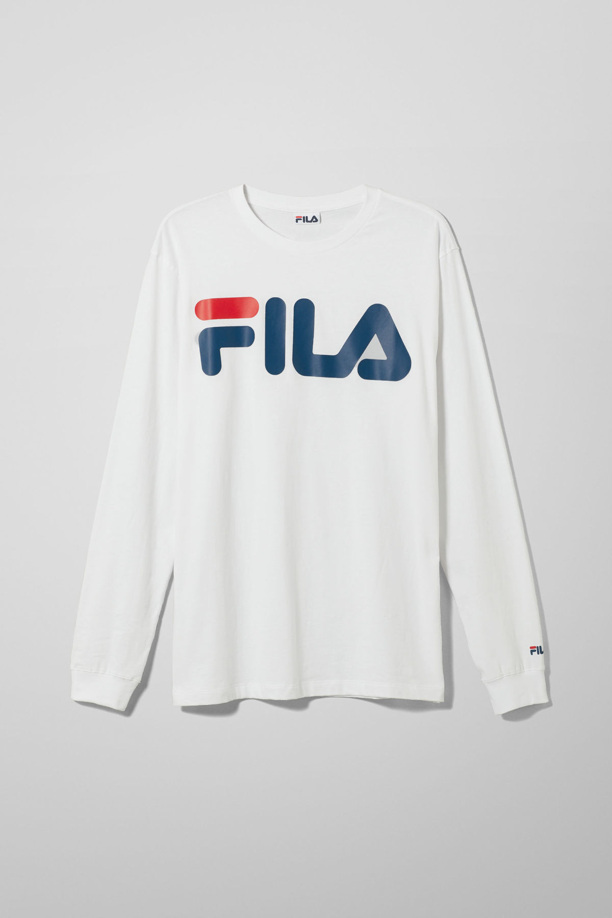 Front image of Weekday classic logo long sleeve in white